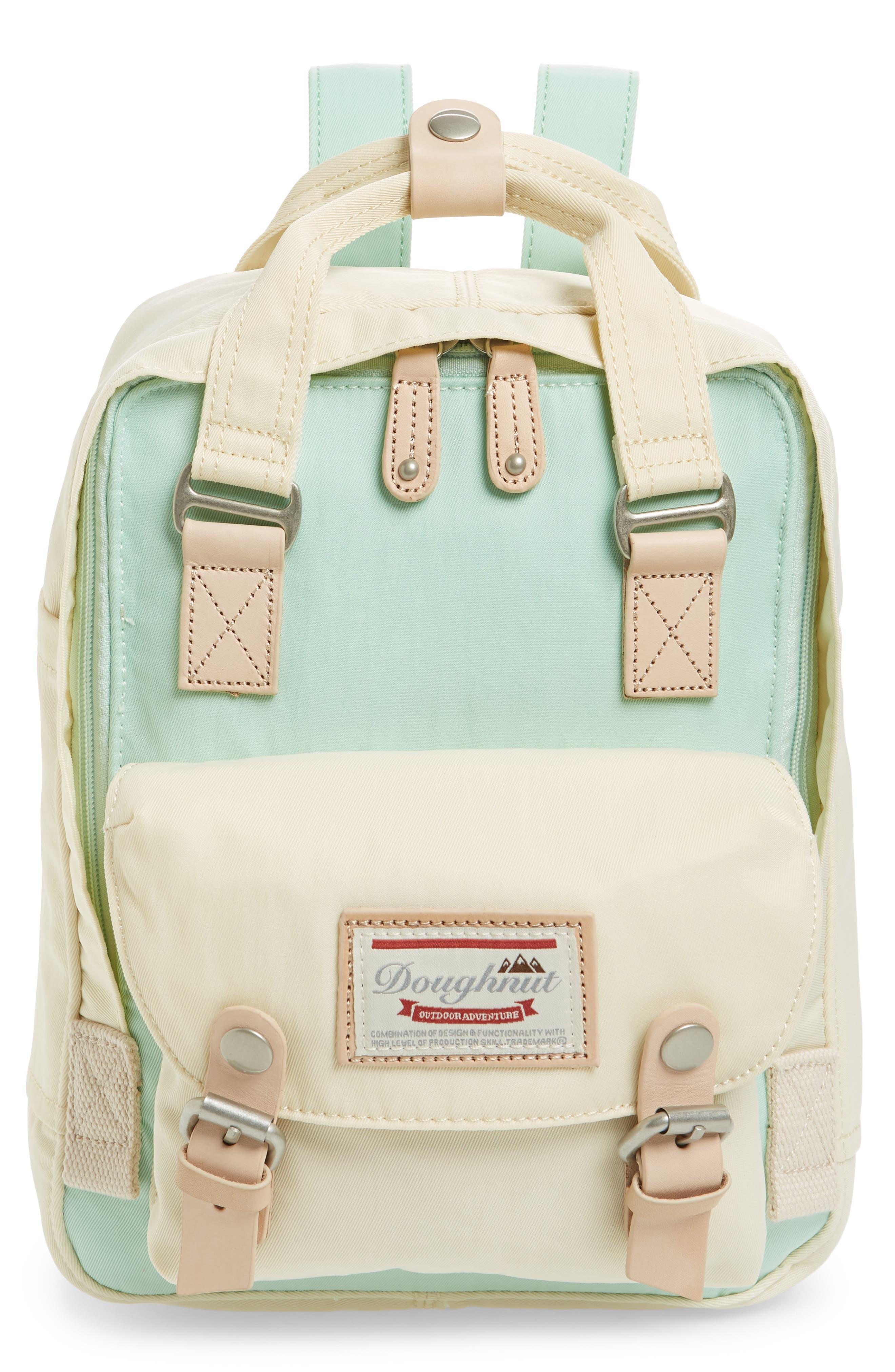 DOUGHNUT Mini Macaroon Colorblock Water Resistant Backpack - Green in Soda/ Cream
