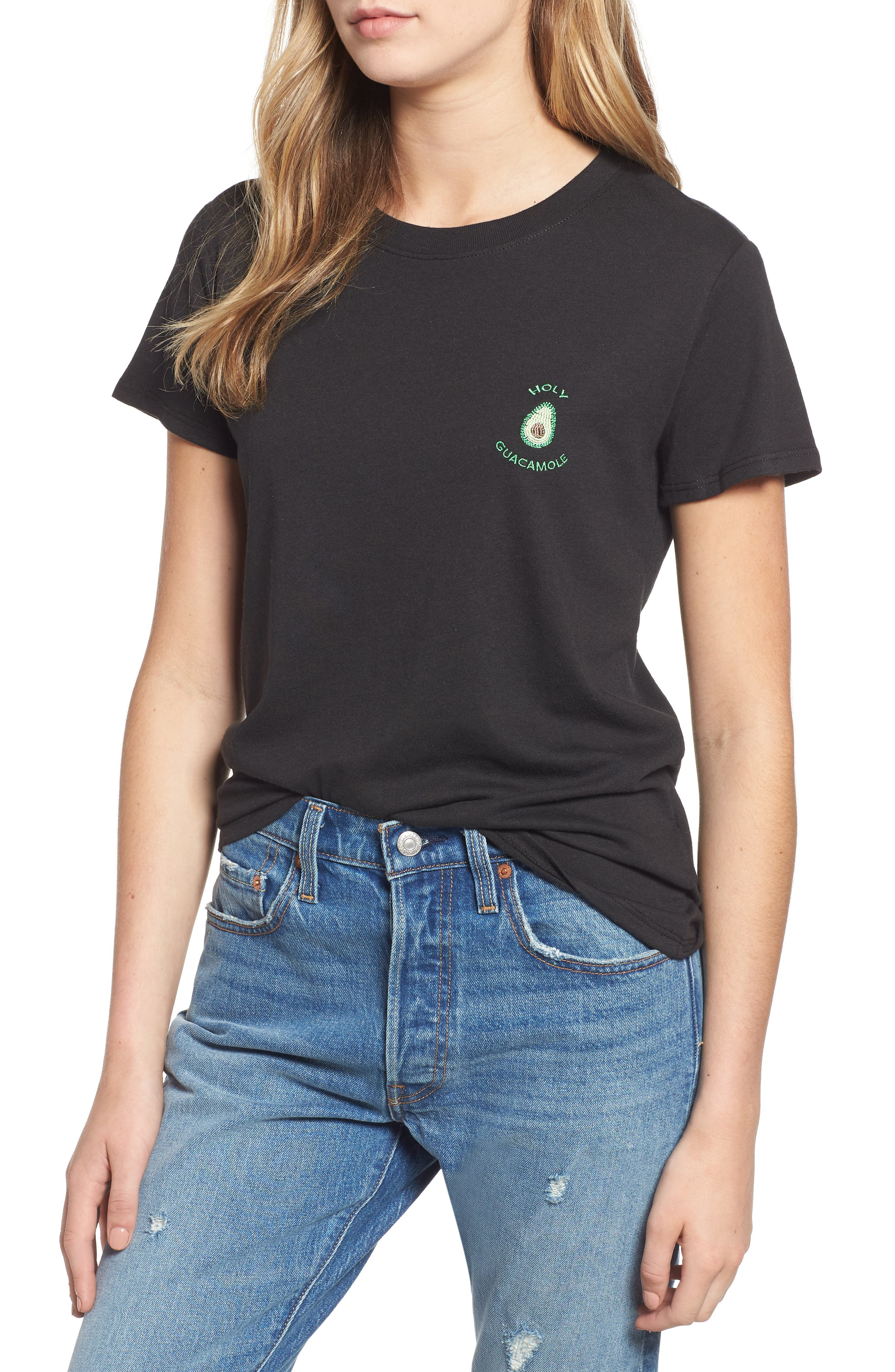 SUB_URBAN RIOT,                             Holy Guacamole Embroidered Slouched Tee,                             Main thumbnail 1, color,                             BLACK
