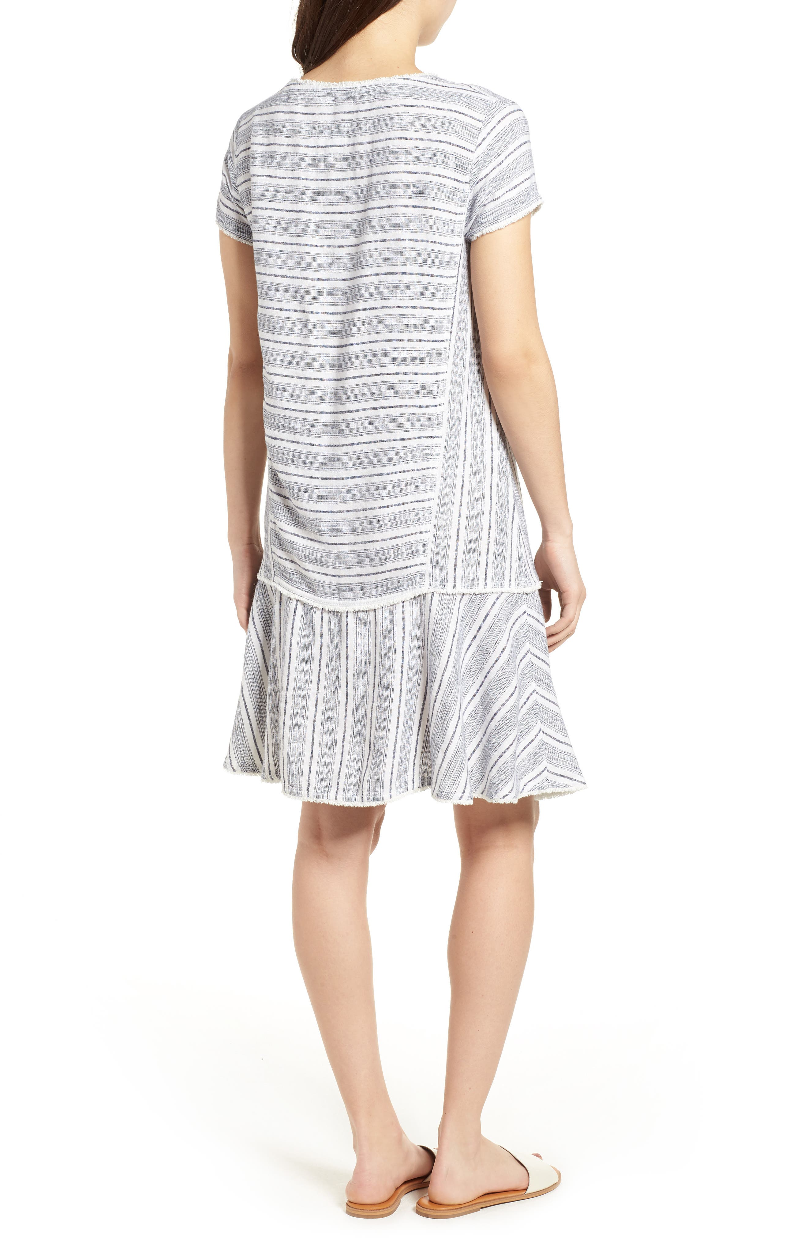 Linen Blend Stripe Dress,                             Alternate thumbnail 2, color,                             900