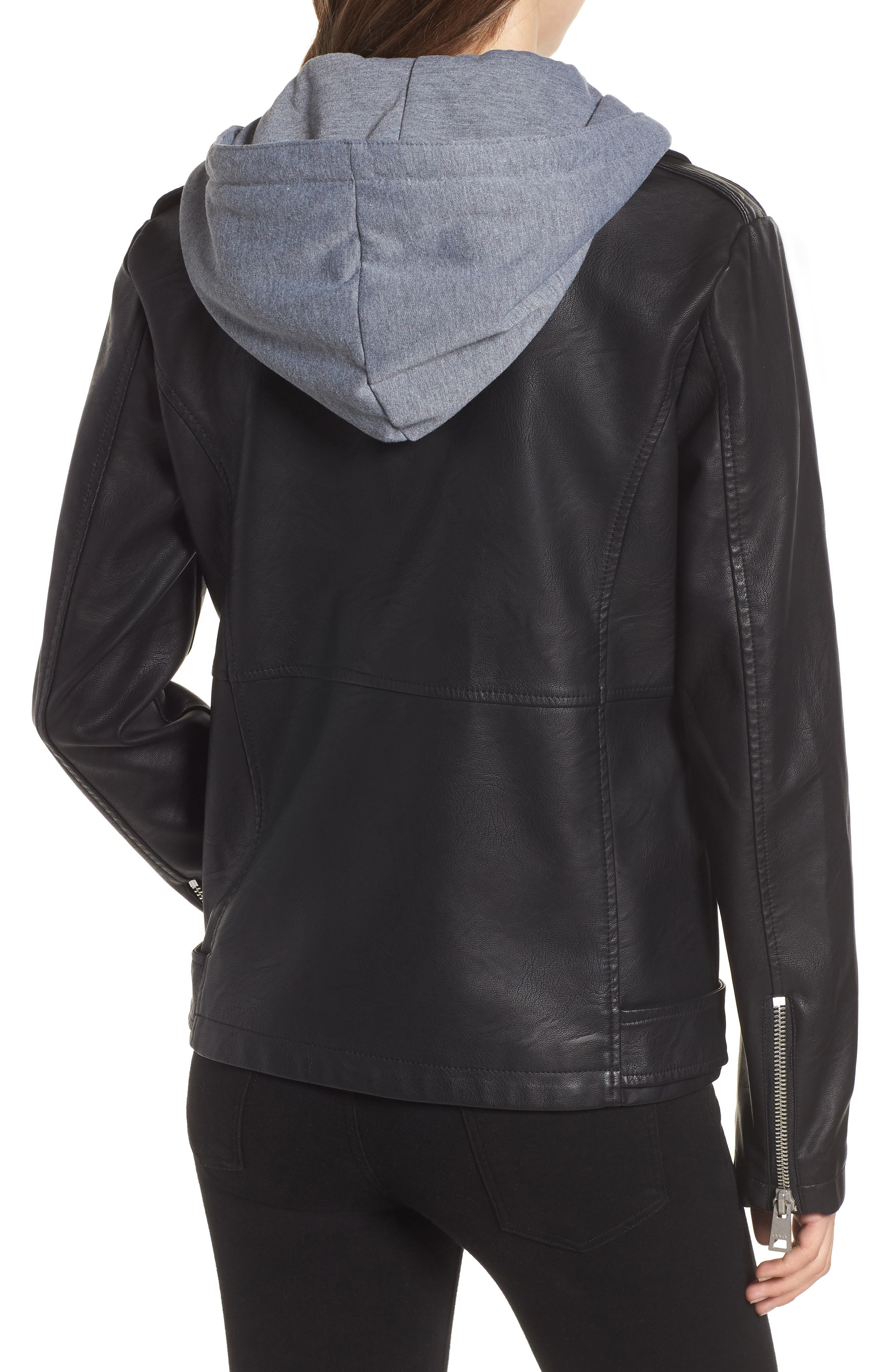 Fleece Hood Oversized Faux Leather Moto Jacket,                             Alternate thumbnail 2, color,                             BLACK