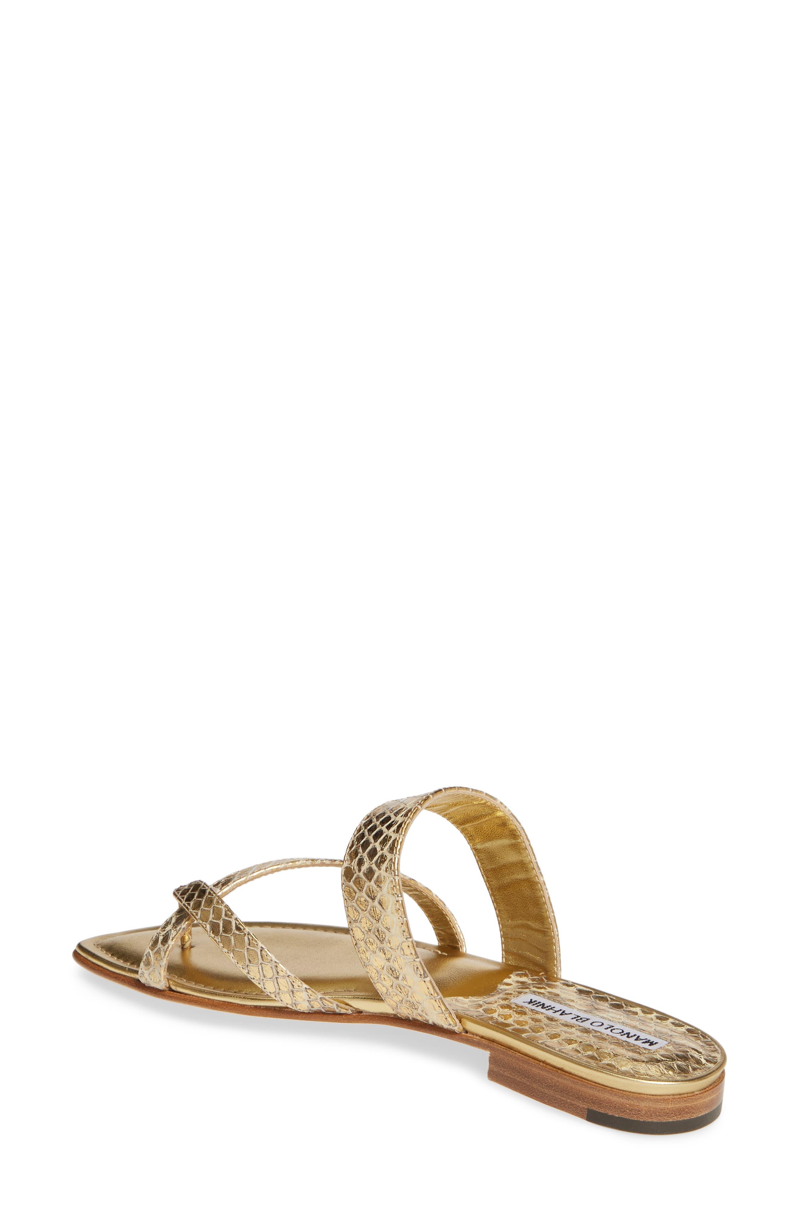 MANOLO BLAHNIK,                             'Susa' Genuine Snakeskin Sandal,                             Alternate thumbnail 2, color,                             GOLD WATERSNAKE