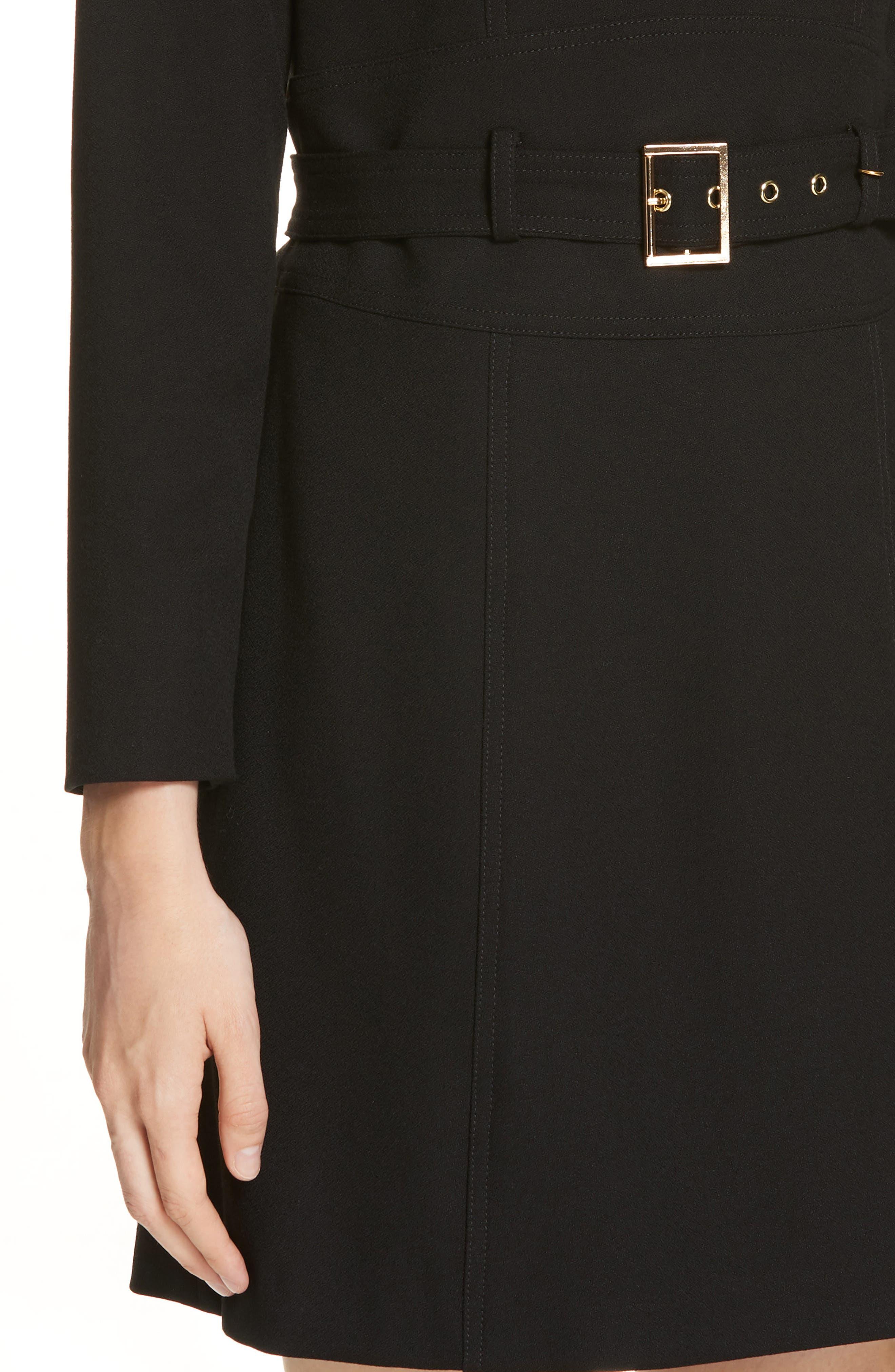 Nora Belted Minidress,                             Alternate thumbnail 4, color,                             BLACK