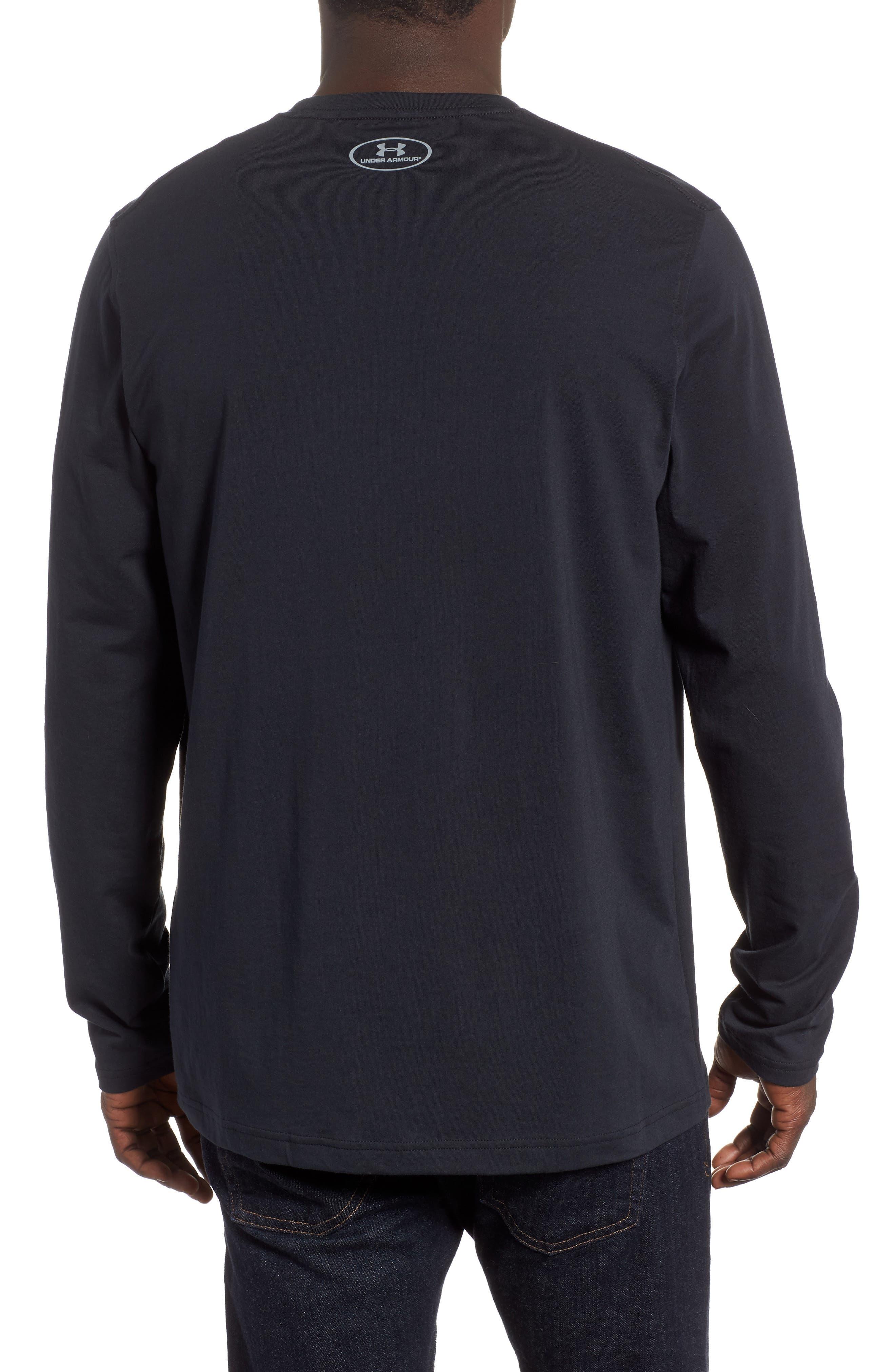 HeatGear<sup>®</sup> Long Sleeve Performance T-Shirt,                             Alternate thumbnail 2, color,                             BLACK/ STEEL