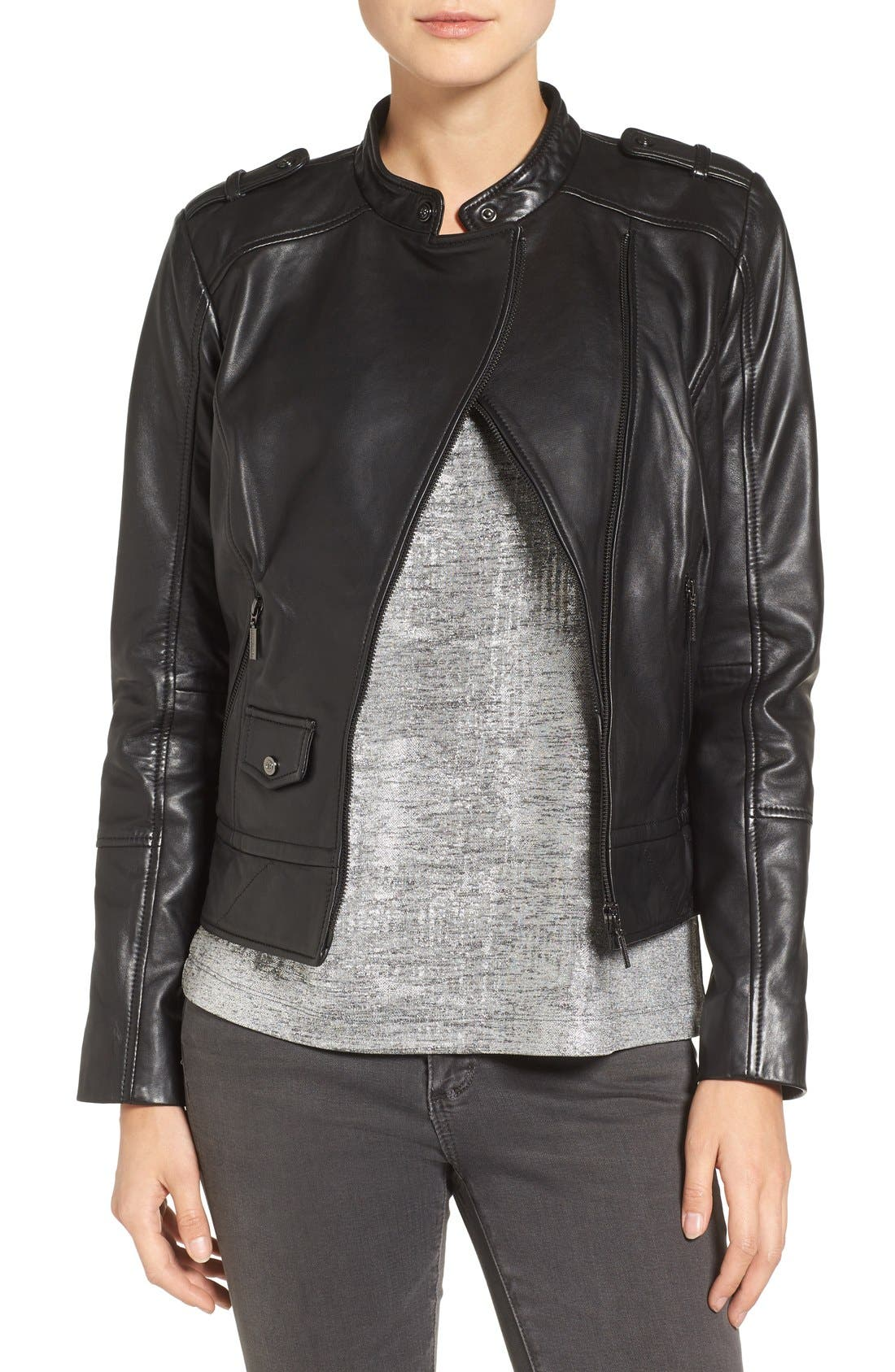 Slim Fit Leather Moto Jacket,                         Main,                         color, 001