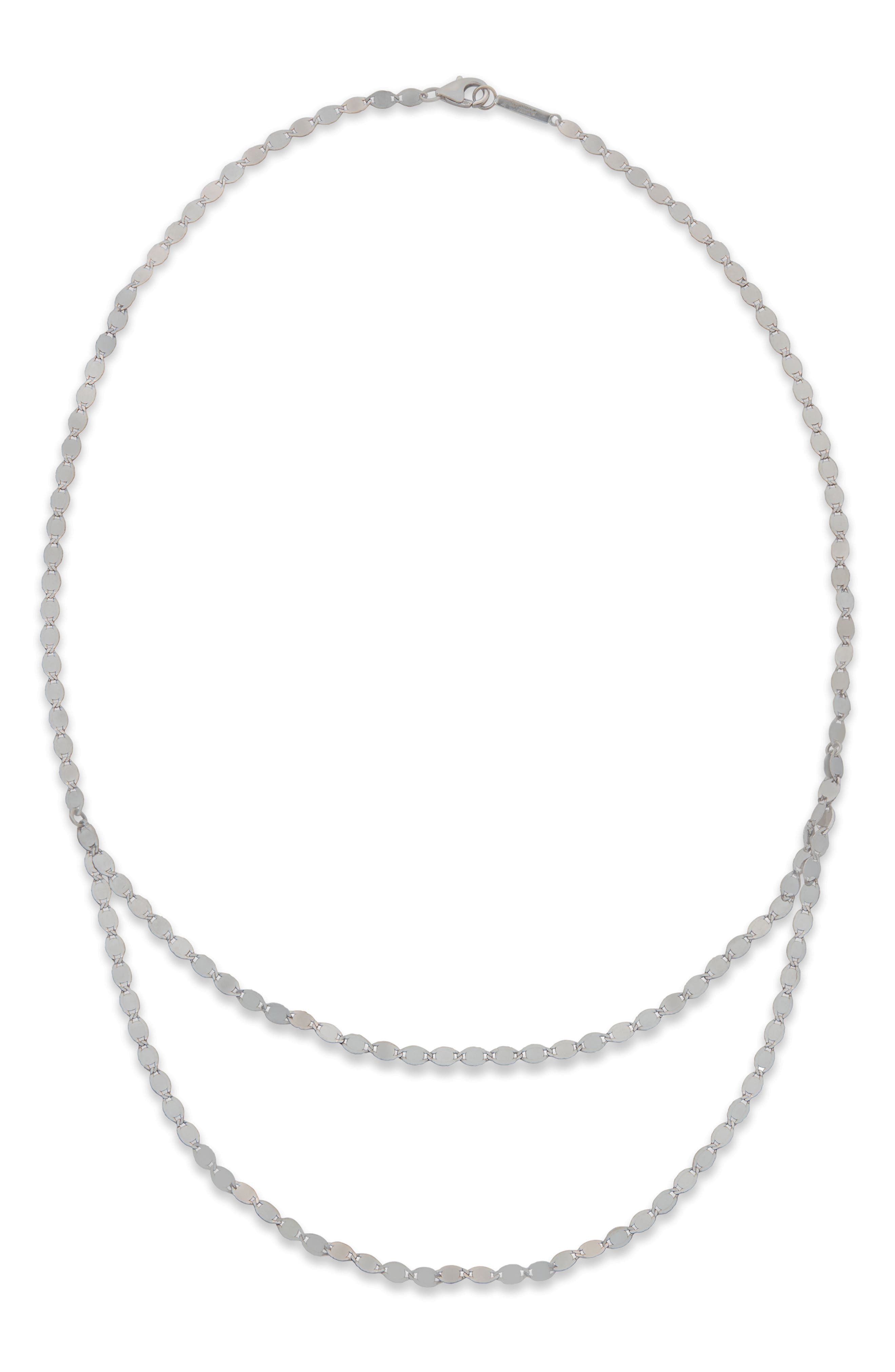 Chain Double Layer Necklace,                             Main thumbnail 1, color,                             WHITE GOLD