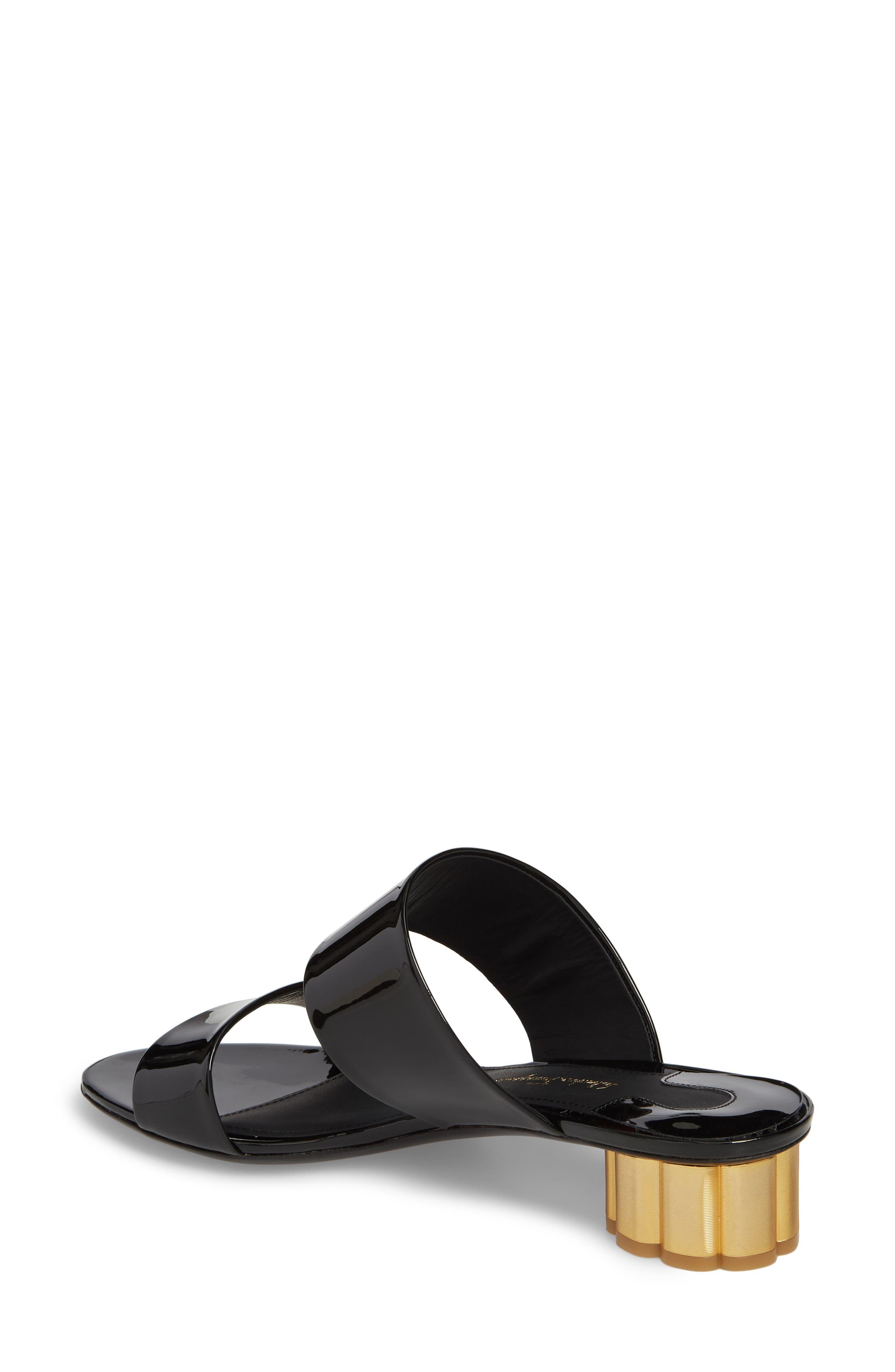 SALVATORE FERRAGAMO,                             Belluno Double Band Slide Sandal,                             Alternate thumbnail 2, color,                             BLACK PATENT LEATHER