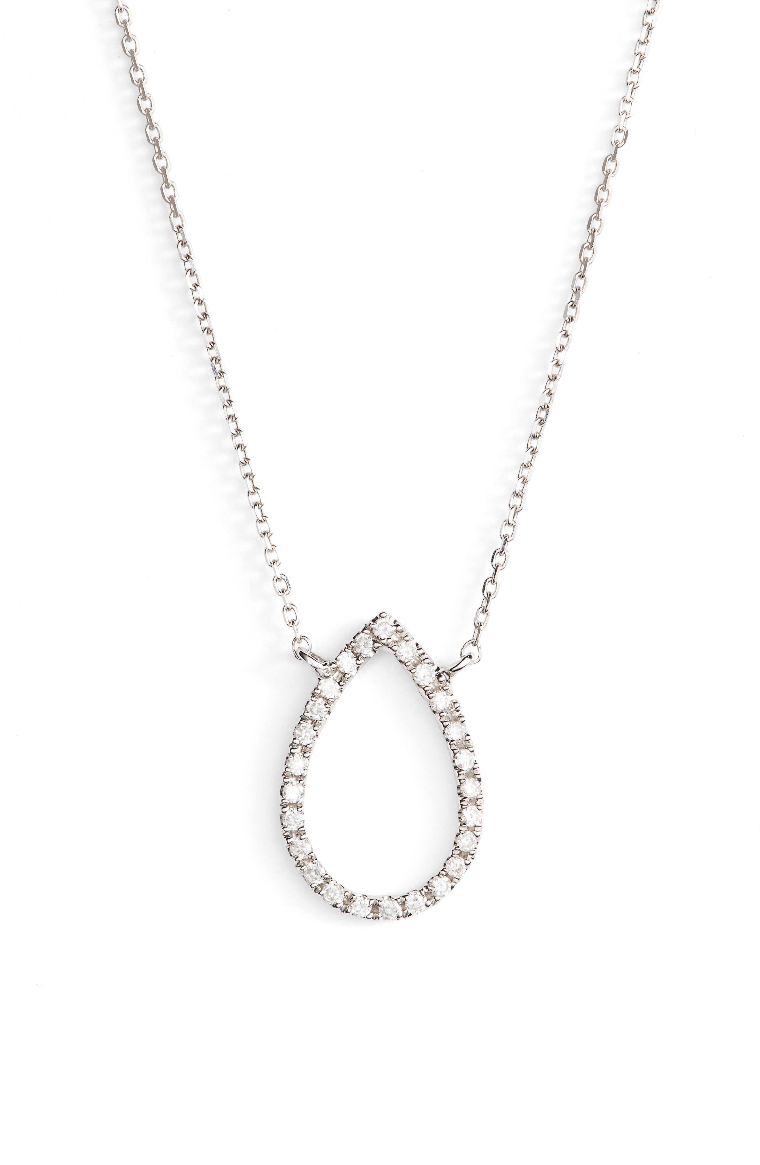 Marquise Diamond Pendant Necklace,                             Main thumbnail 1, color,                             WHITE GOLD