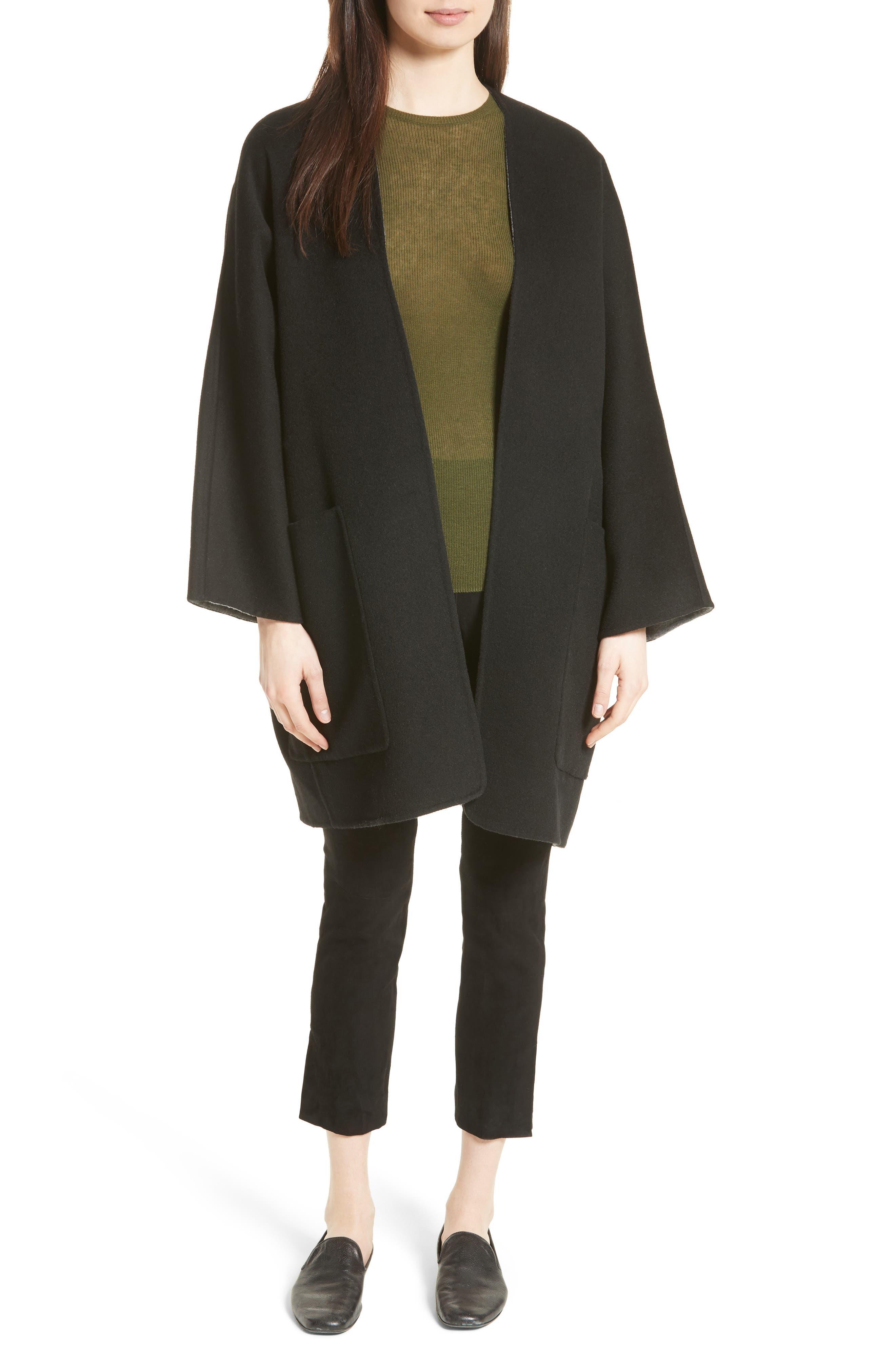 Reversible Wool & Cashmere Clutch Coat,                             Alternate thumbnail 7, color,                             006