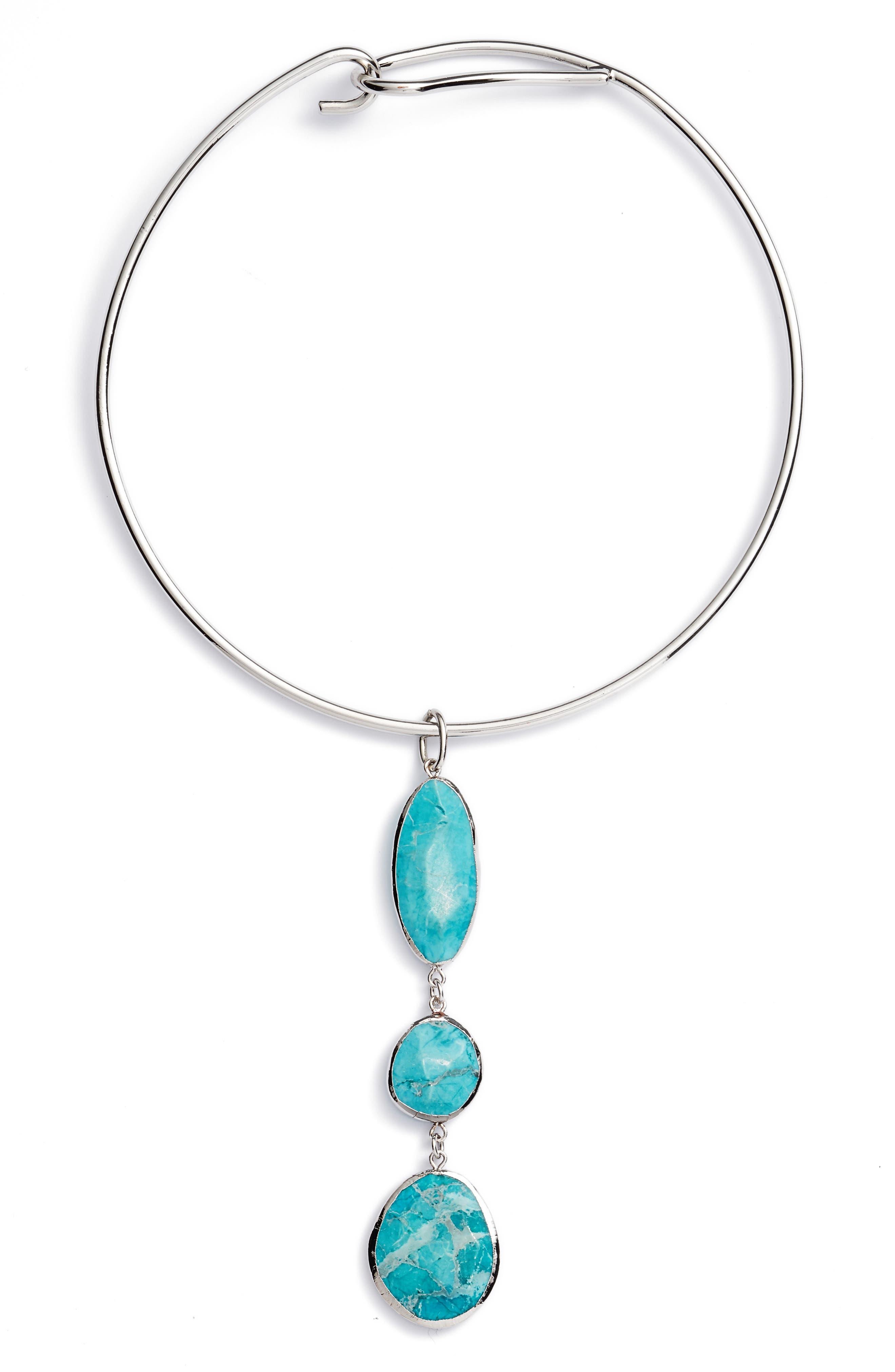 Triple Stone Collar Necklace,                             Main thumbnail 1, color,                             040