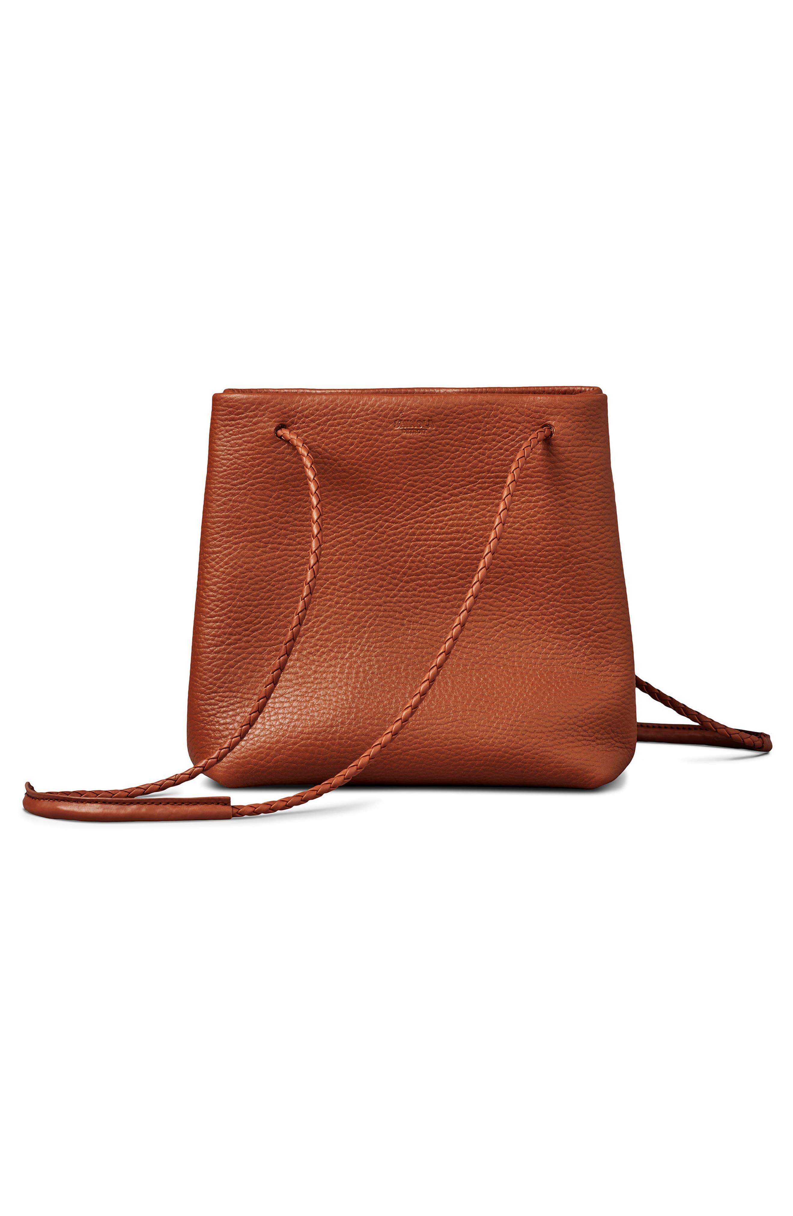 Mini Pebbled Leather Drawstring Crossbody Bag,                             Alternate thumbnail 8, color,