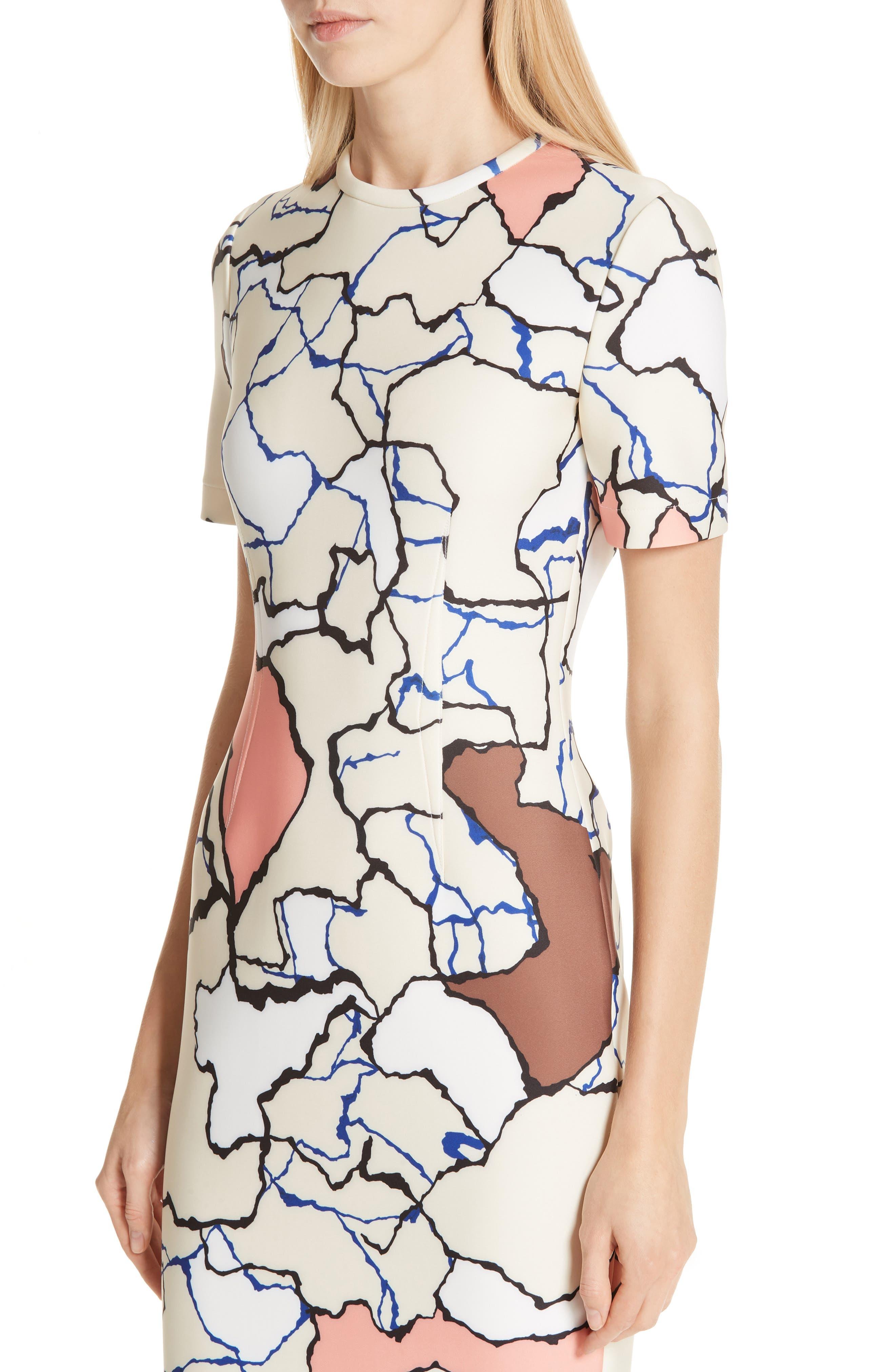 YIGAL AZROUËL,                             Terrazzo Print Scuba Dress,                             Alternate thumbnail 5, color,                             MULTI
