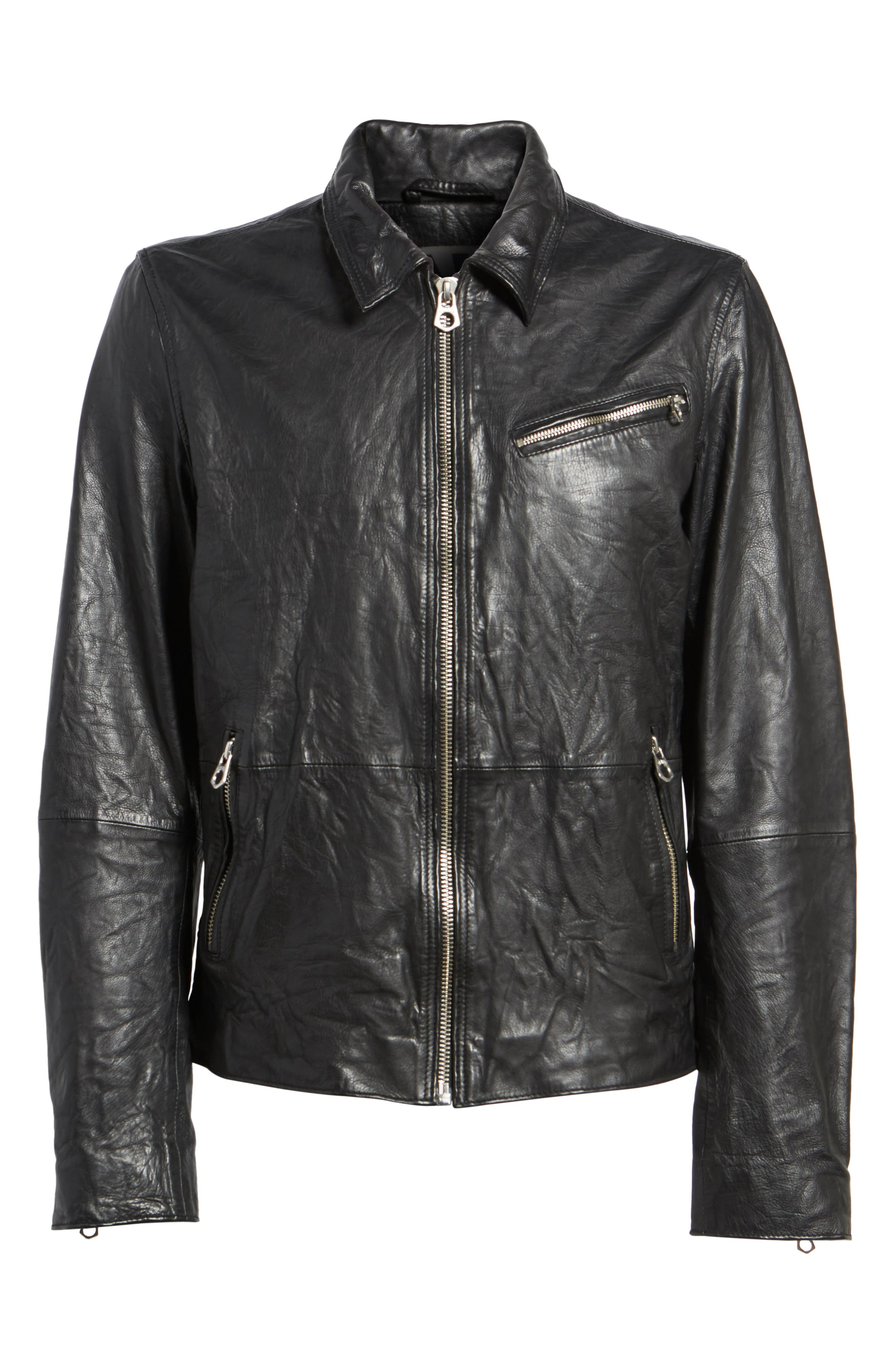 Lightweight Washed Leather Jacket,                             Alternate thumbnail 5, color,
