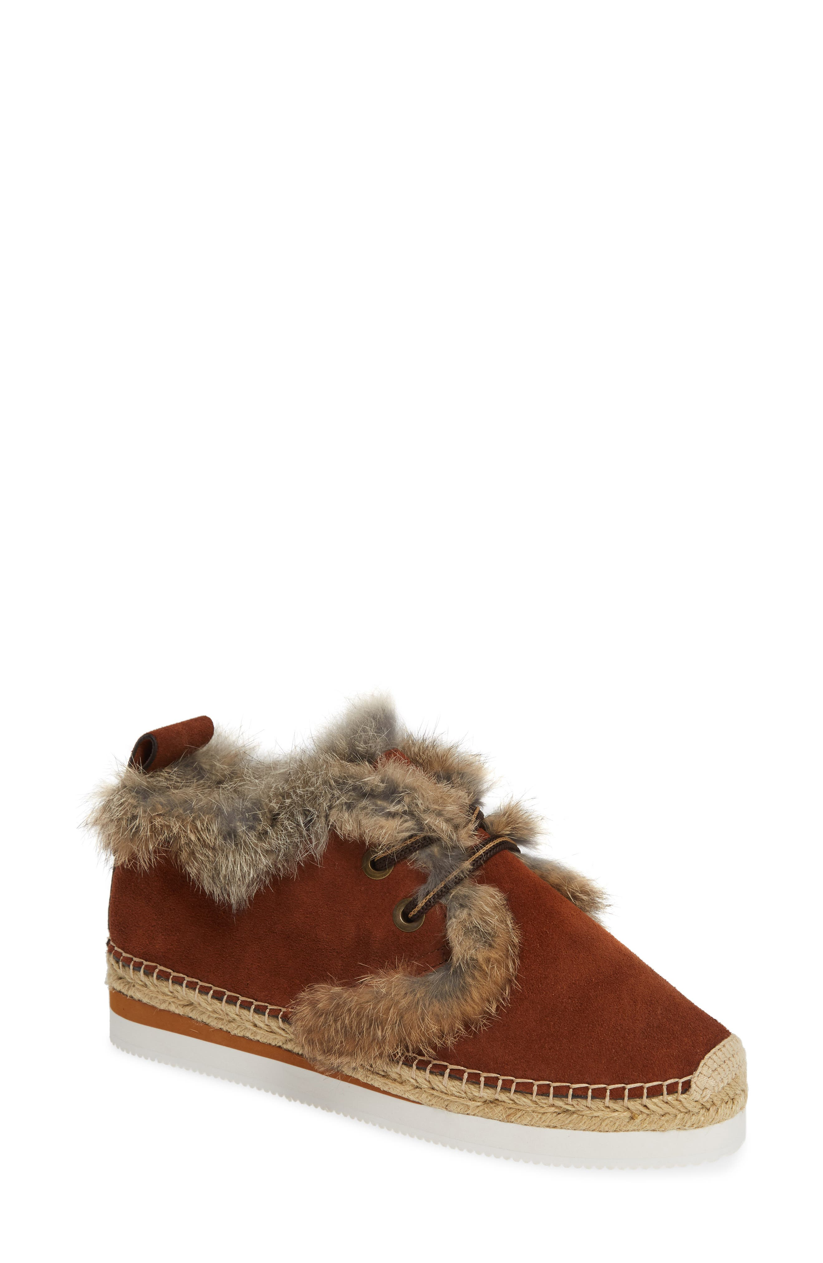 See By Chloe Glyn Genuine Shearling & Genuine Rabbit Fur Lace-Up Espadrille, Brown