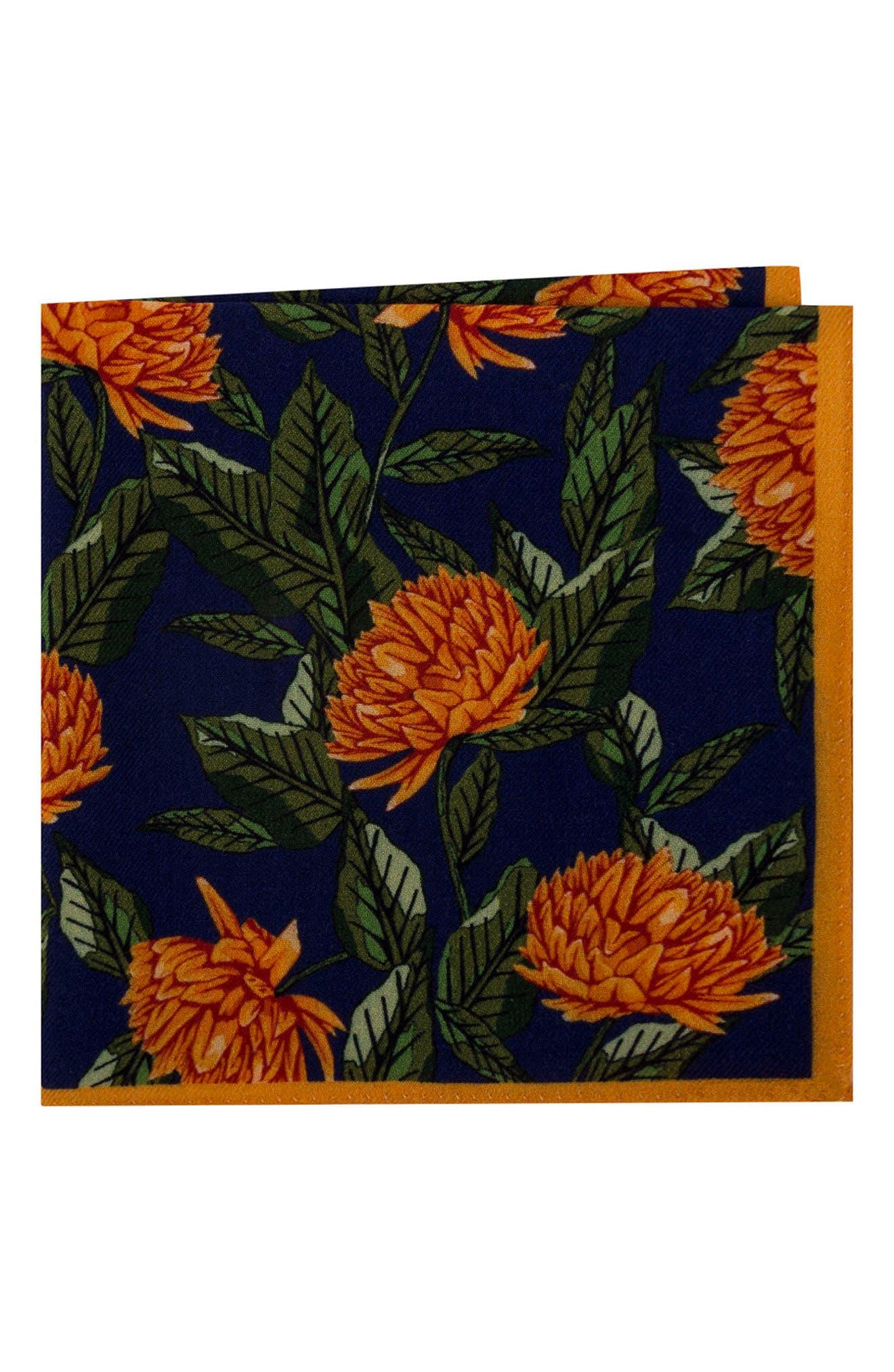 Floral Wool Pocket Square,                             Main thumbnail 2, color,