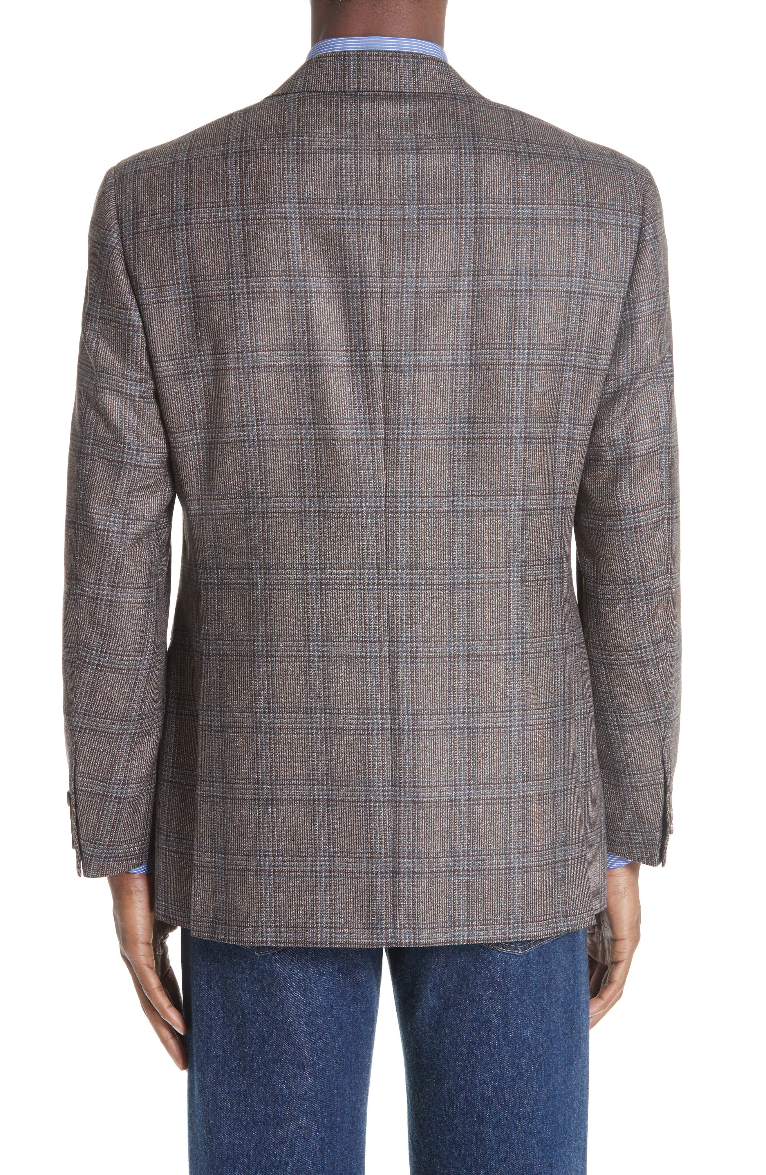 Classic Fit Plaid Silk & Wool Sport Coat,                             Alternate thumbnail 2, color,                             MED BROWN