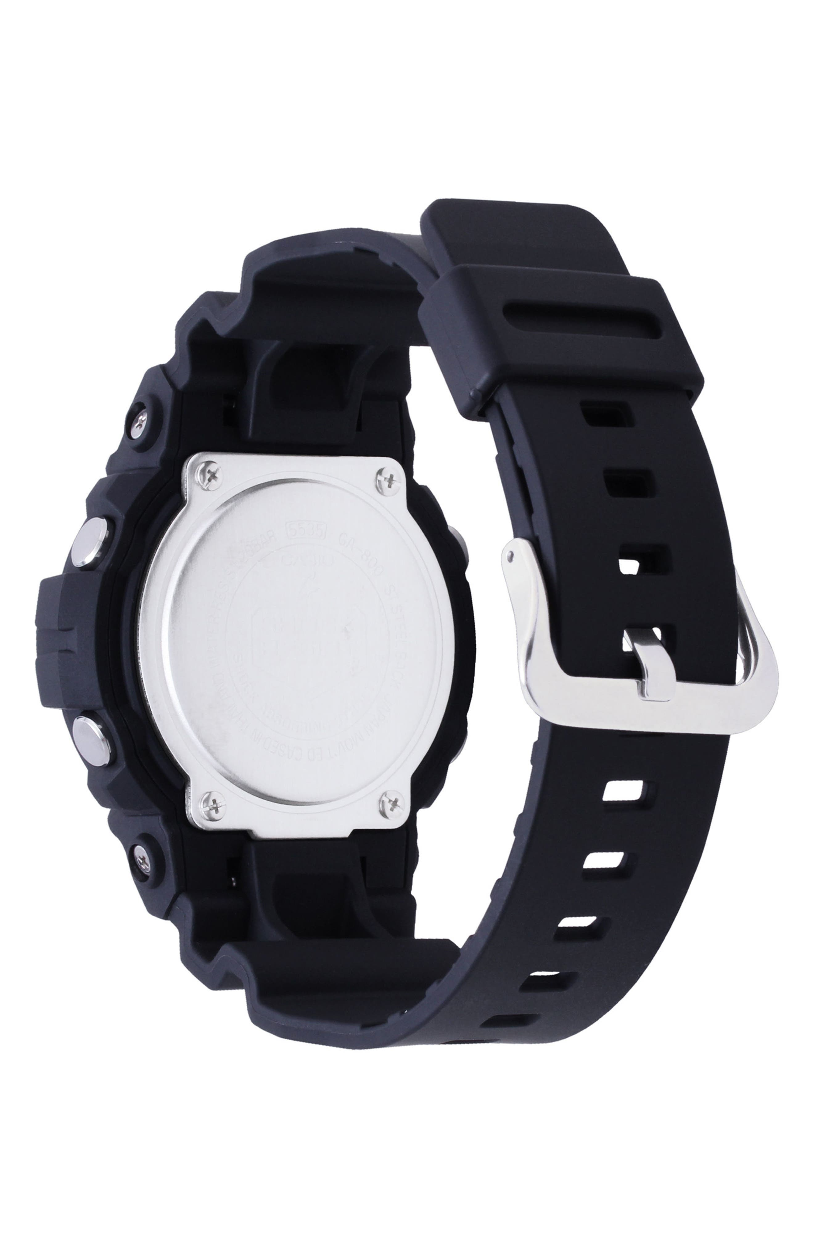 Front Button Ana-Digi Resin Watch, 48.6mm,                             Alternate thumbnail 2, color,                             BLACK