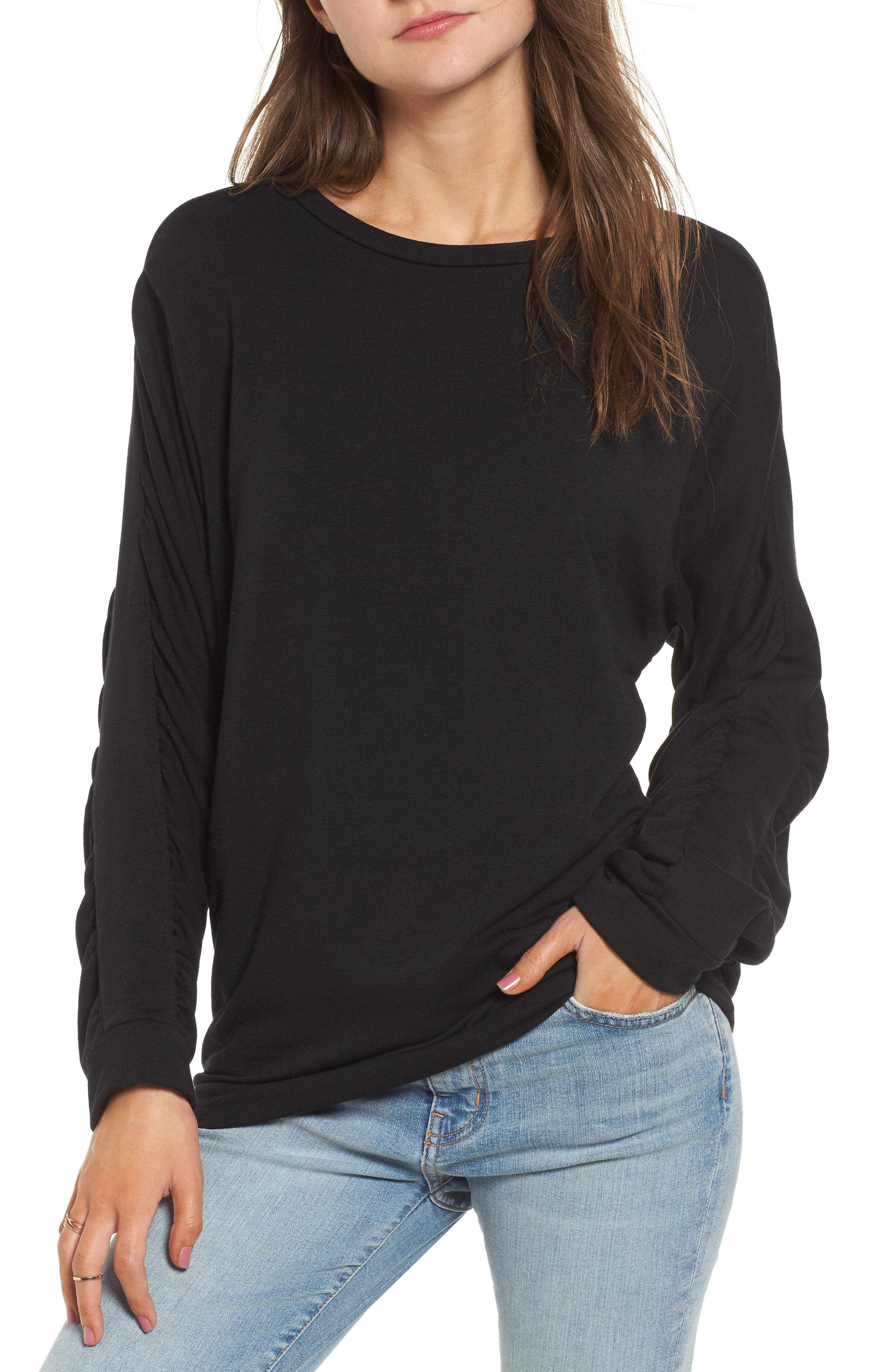 Ruched Sleeve Sweatshirt,                         Main,                         color, 001