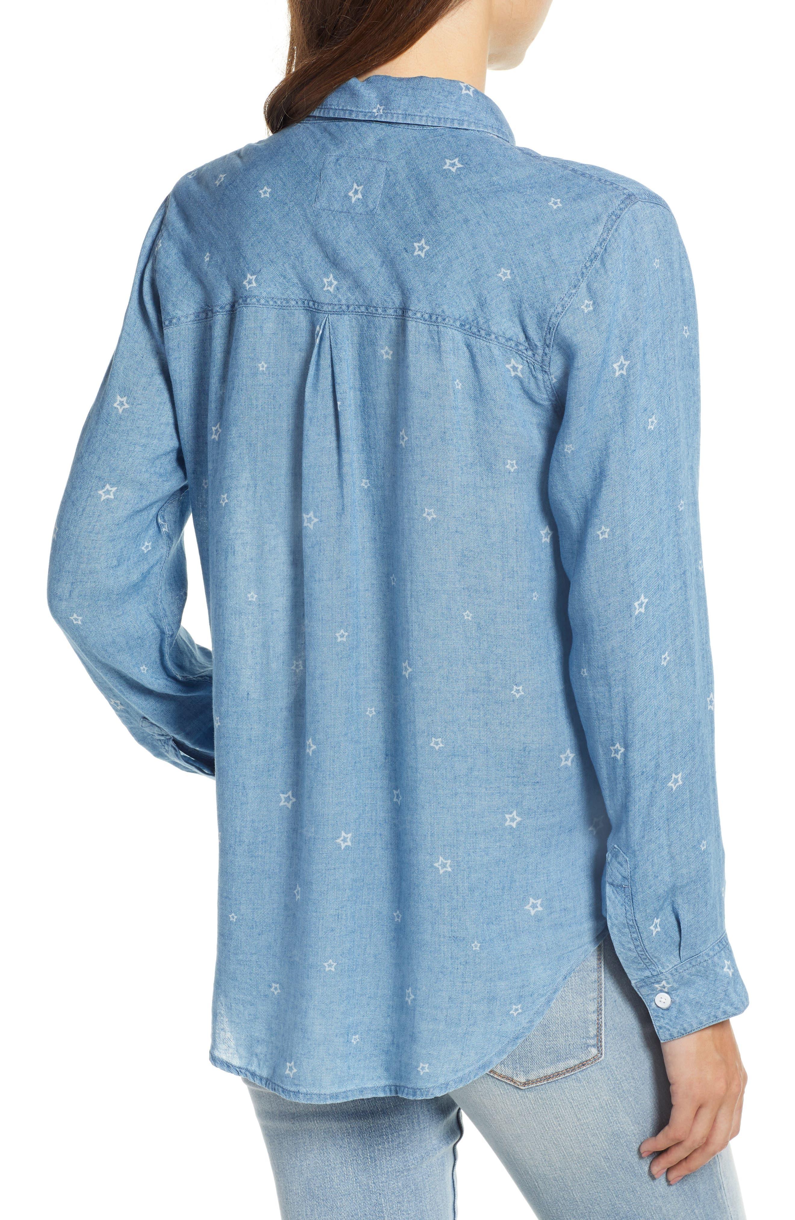 Ingrid Chambray Shirt,                             Alternate thumbnail 3, color,                             INDIGO STARS