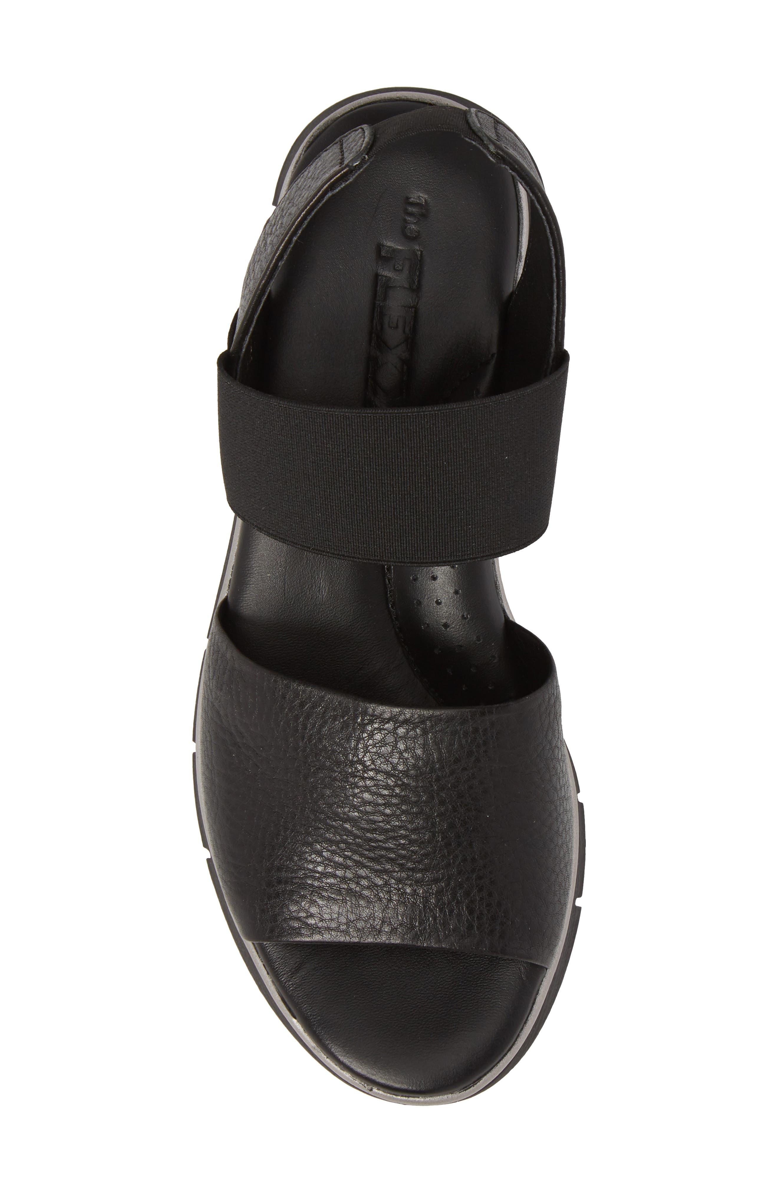 Cushy Sandal,                             Alternate thumbnail 5, color,                             BLACK LEATHER