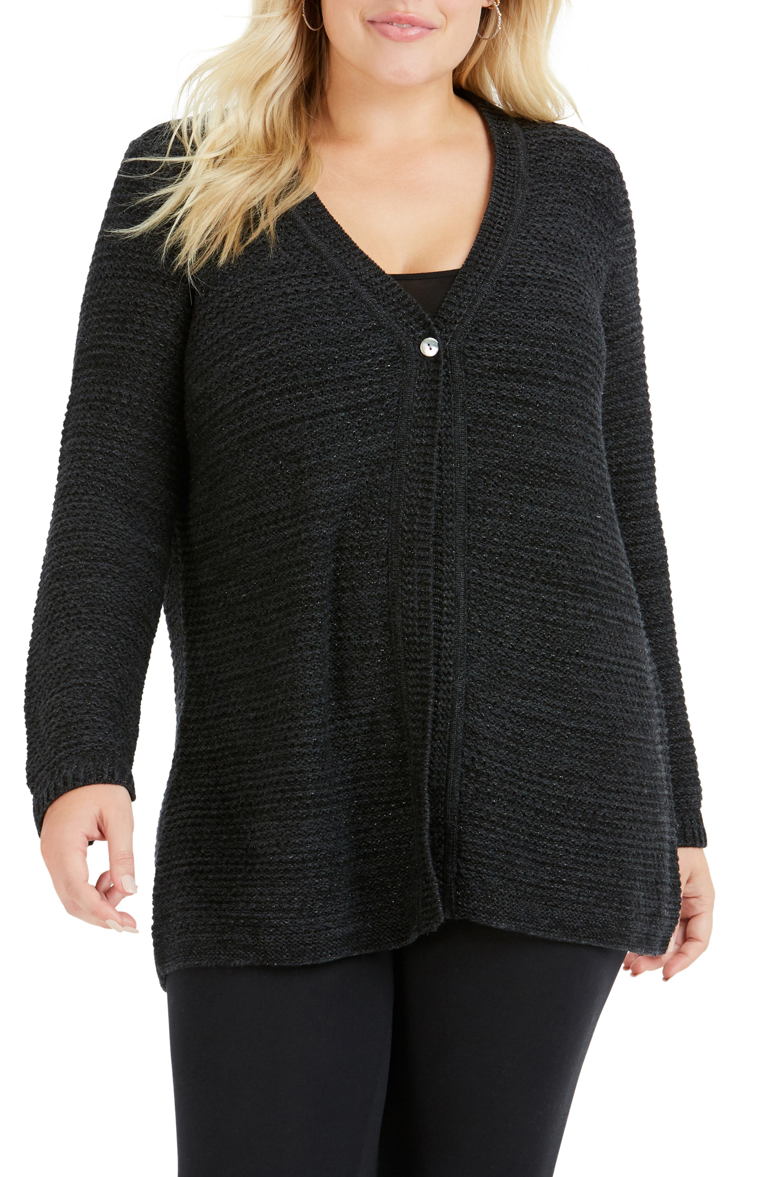 Marcelle Texture Stitch Cardigan, Main, color, CHARCOAL