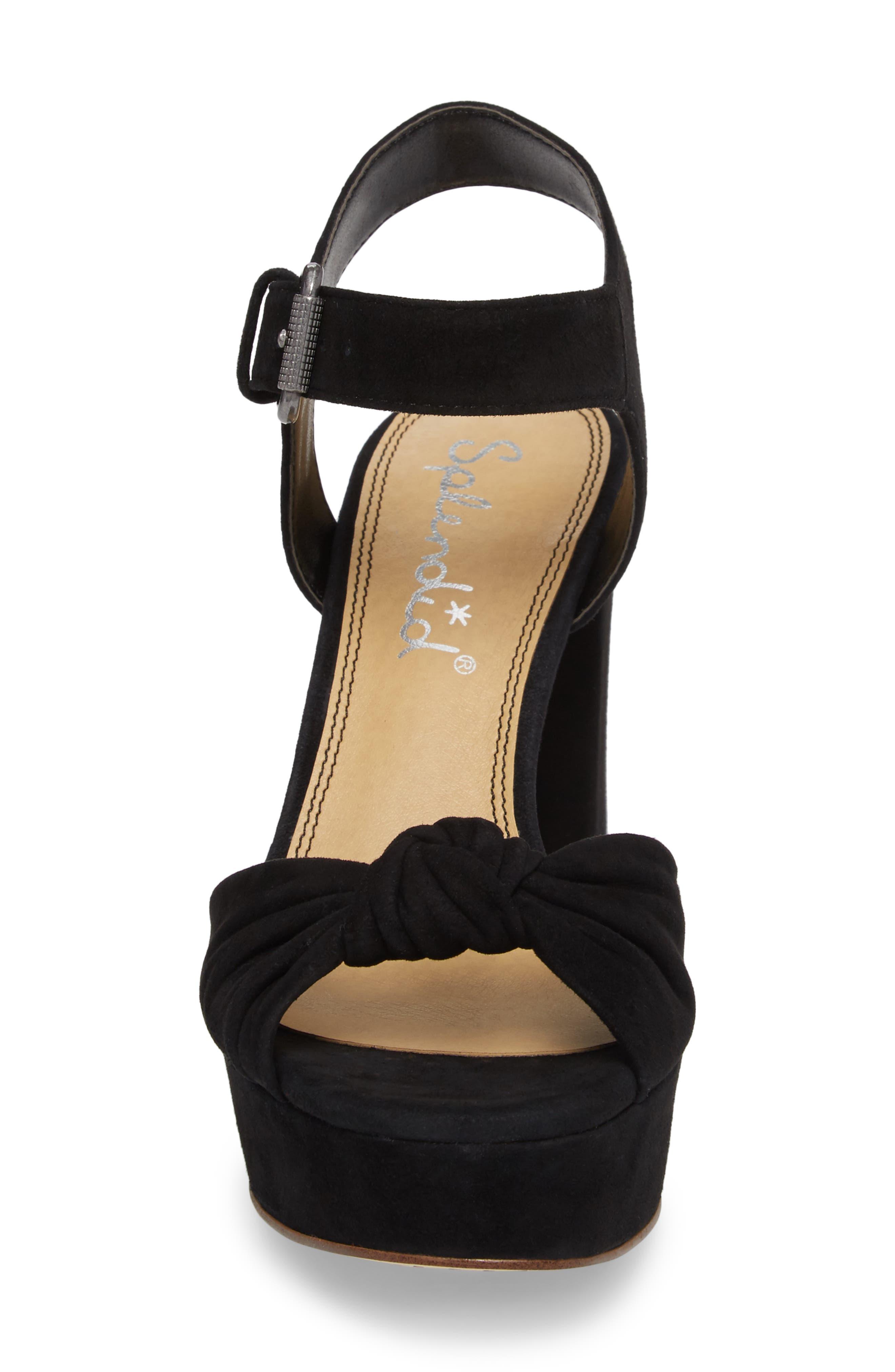 Bates Platform Sandal,                             Alternate thumbnail 4, color,                             BLACK SUEDE