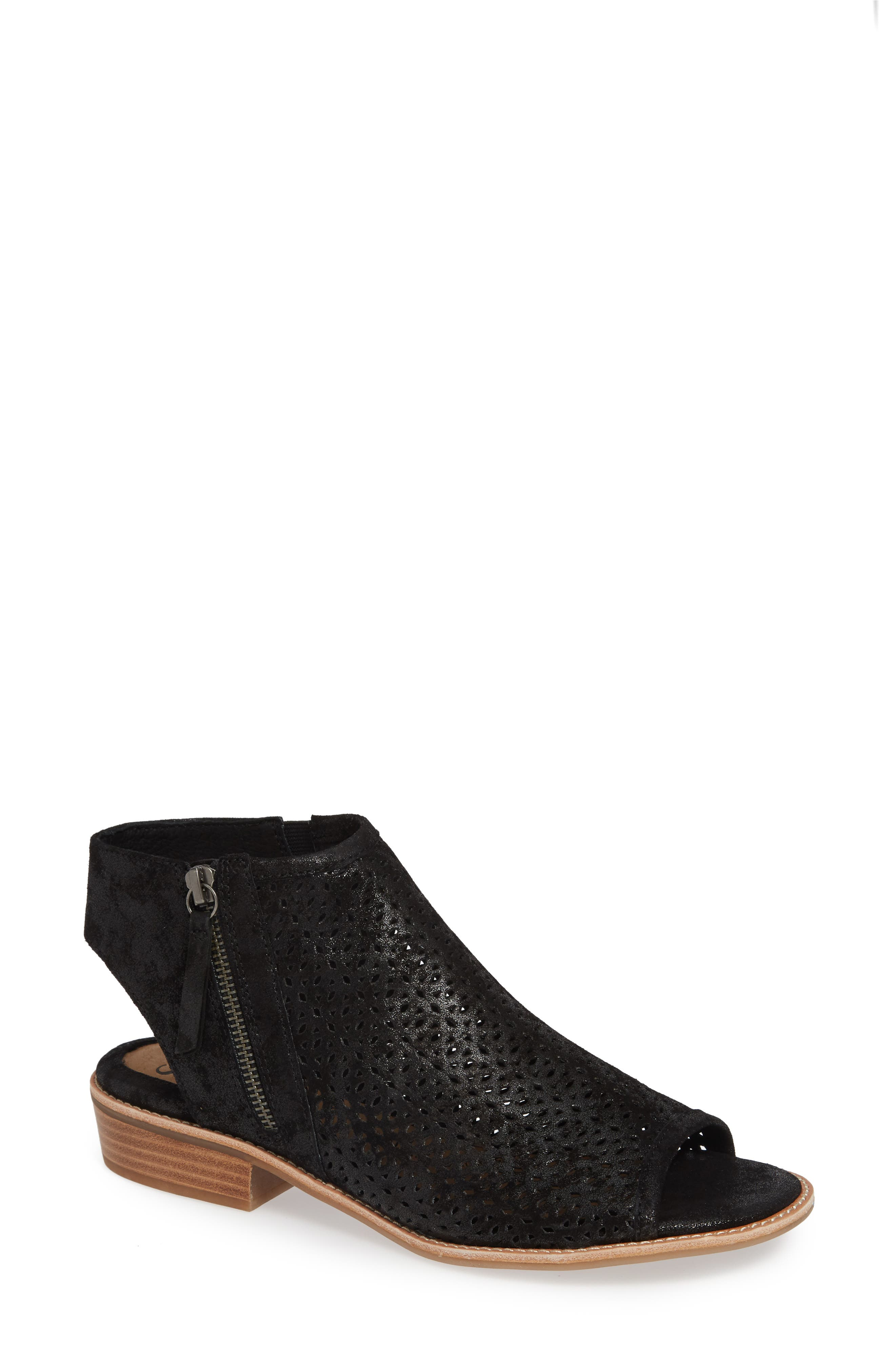 Natesa Perforated Sandal,                             Main thumbnail 1, color,                             BLACK SUEDE