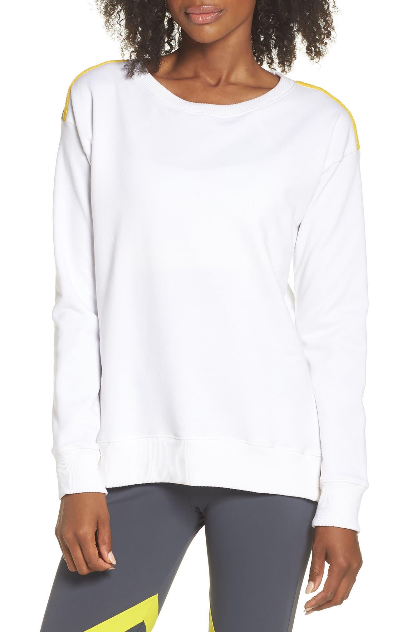 BoomBoom Athletica Tricolor Shoulder Sweatshirt,                             Main thumbnail 1, color,                             WHITE/ GREY/ YELLOW