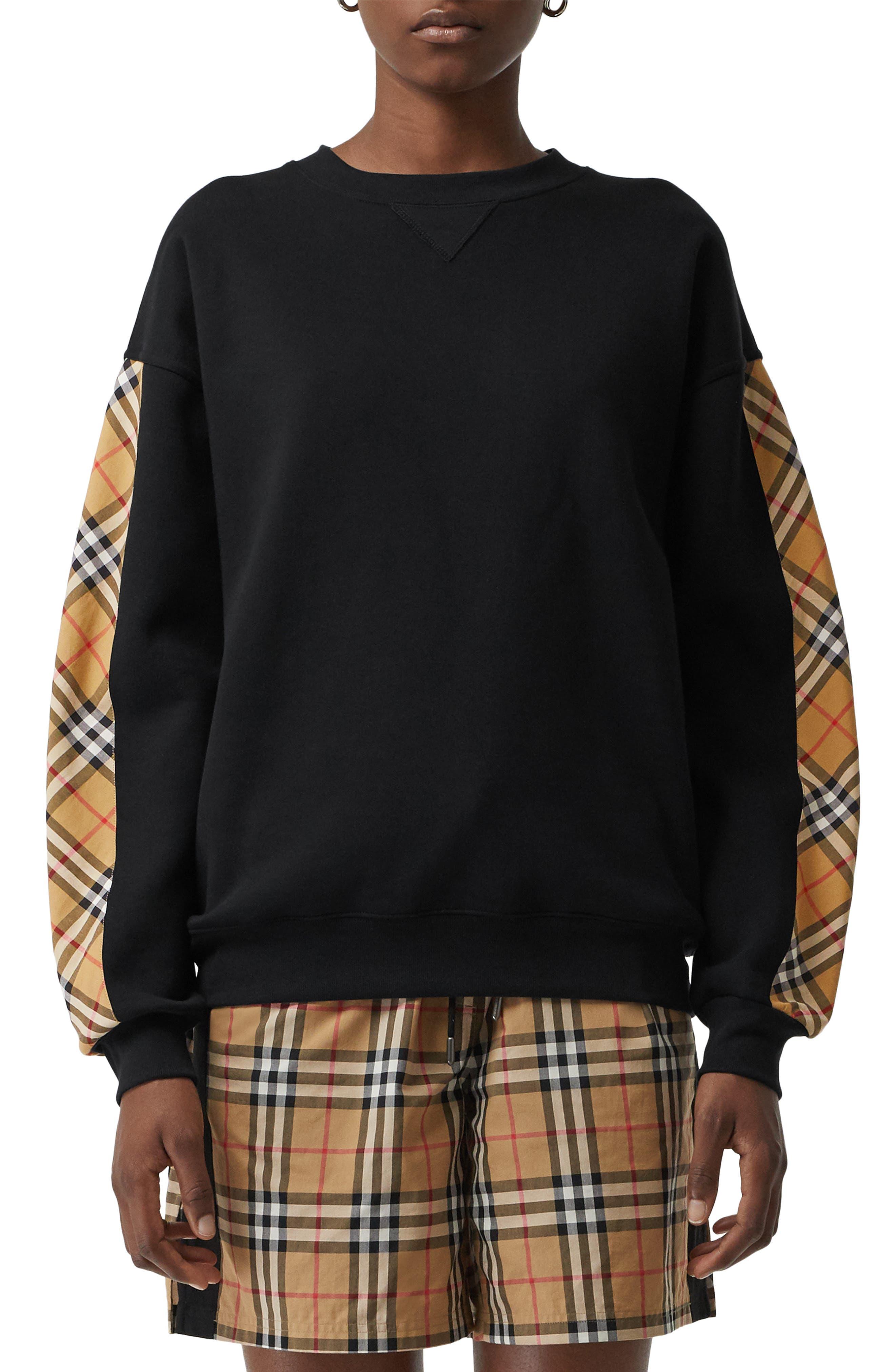 Bronx Check Sleeve Sweatshirt,                         Main,                         color, BLACK