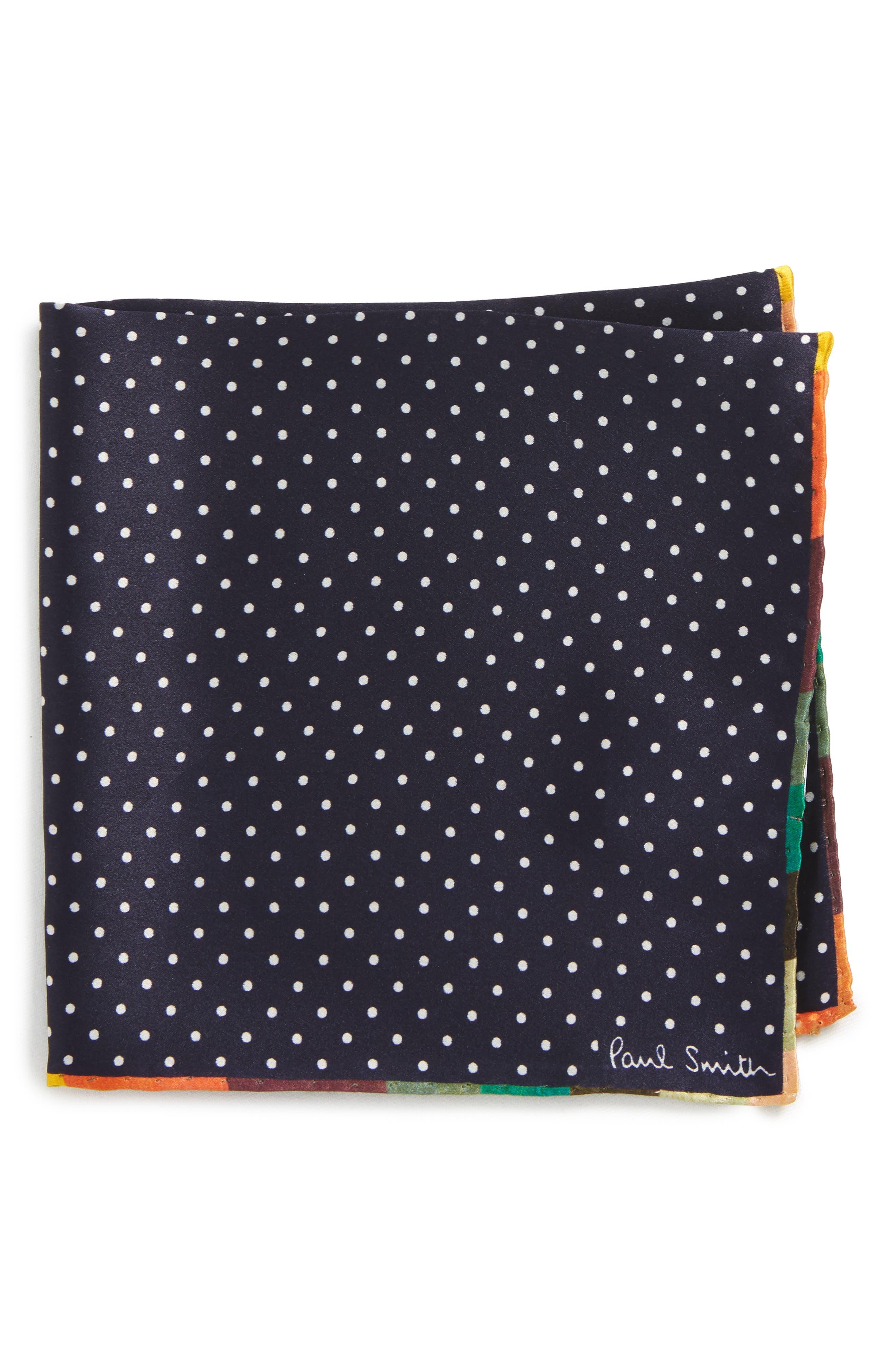 Artist Edge Pin Dot Silk Pocket Square,                         Main,                         color, 415