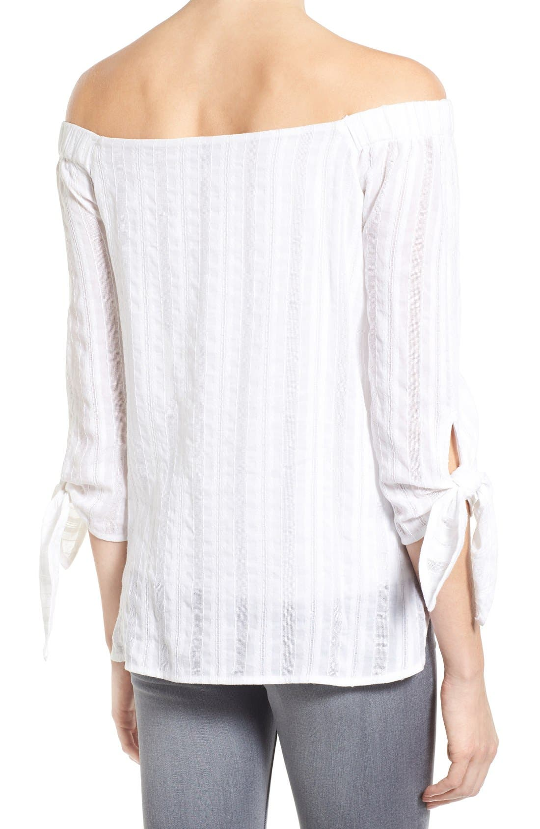 'Yarrow' Woven Stripe Off the Shoulder Top,                             Alternate thumbnail 2, color,                             105
