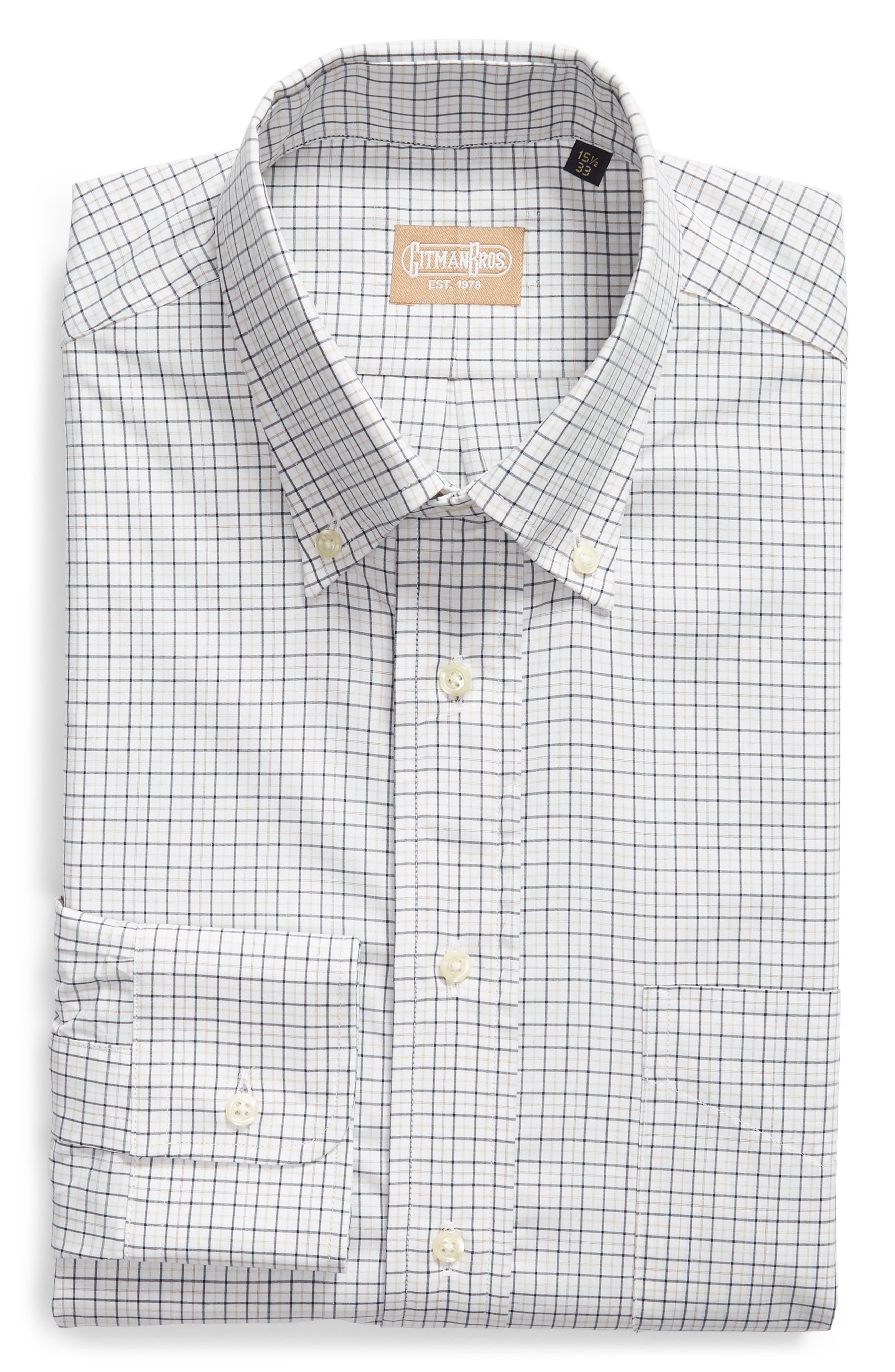 Tailored Fit Check Dress Shirt,                             Alternate thumbnail 5, color,                             WHITE/ BLUE