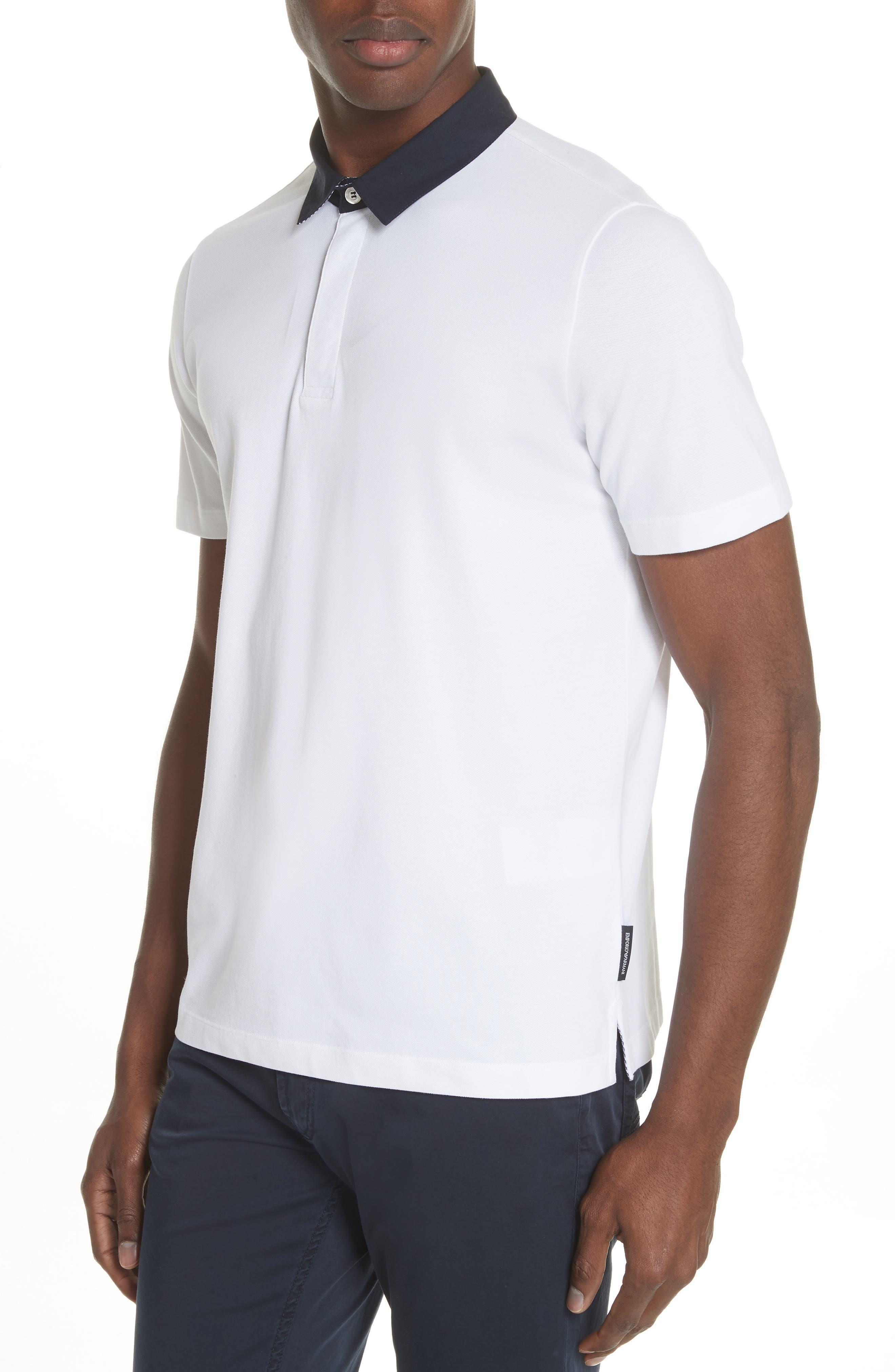 Stretch Cotton Polo Shirt,                             Alternate thumbnail 4, color,                             BIANCO OTTICO