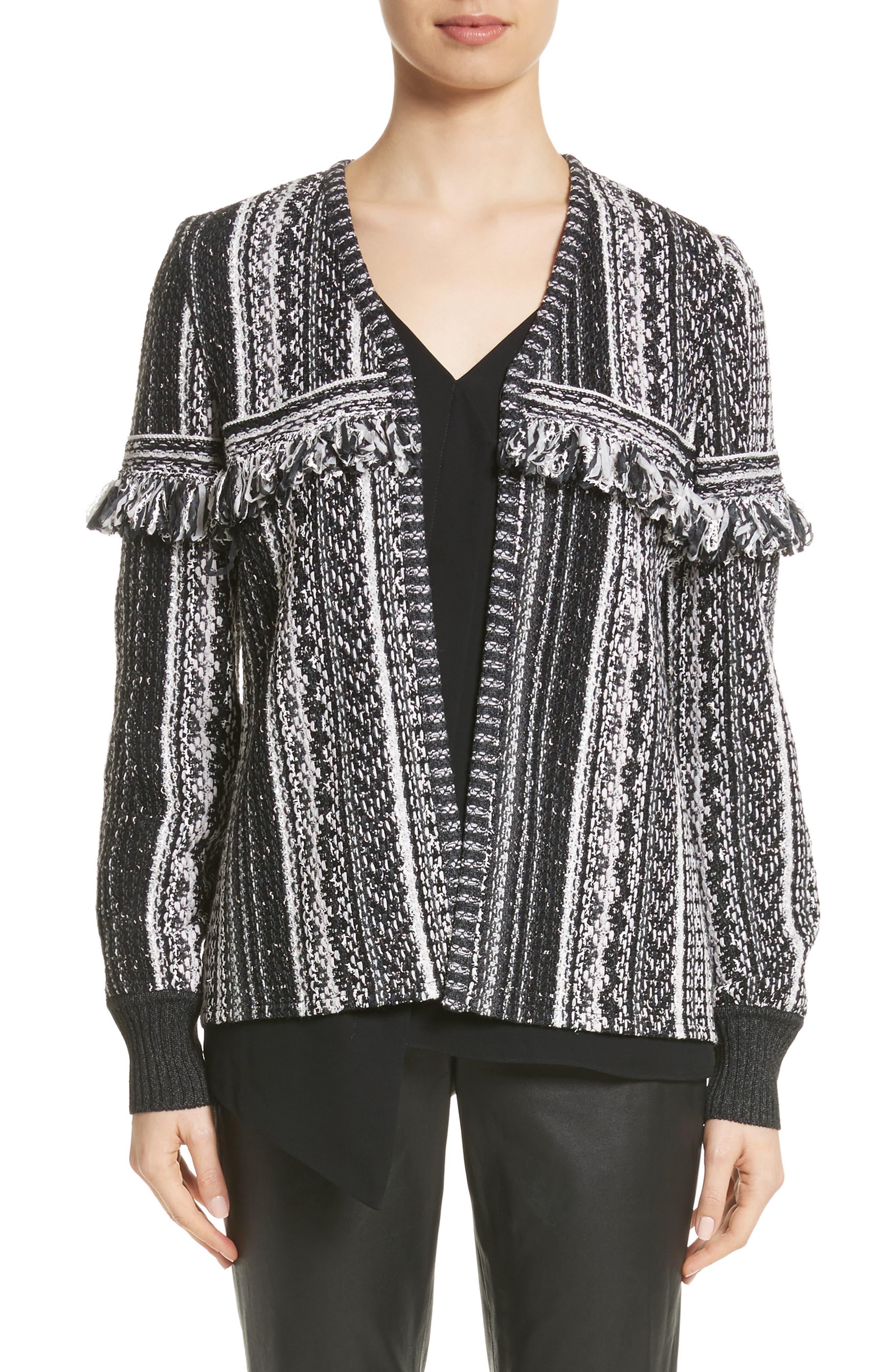 Fringe Vertical Ombré Stripe Tweed Knit Jacket,                             Main thumbnail 1, color,                             001