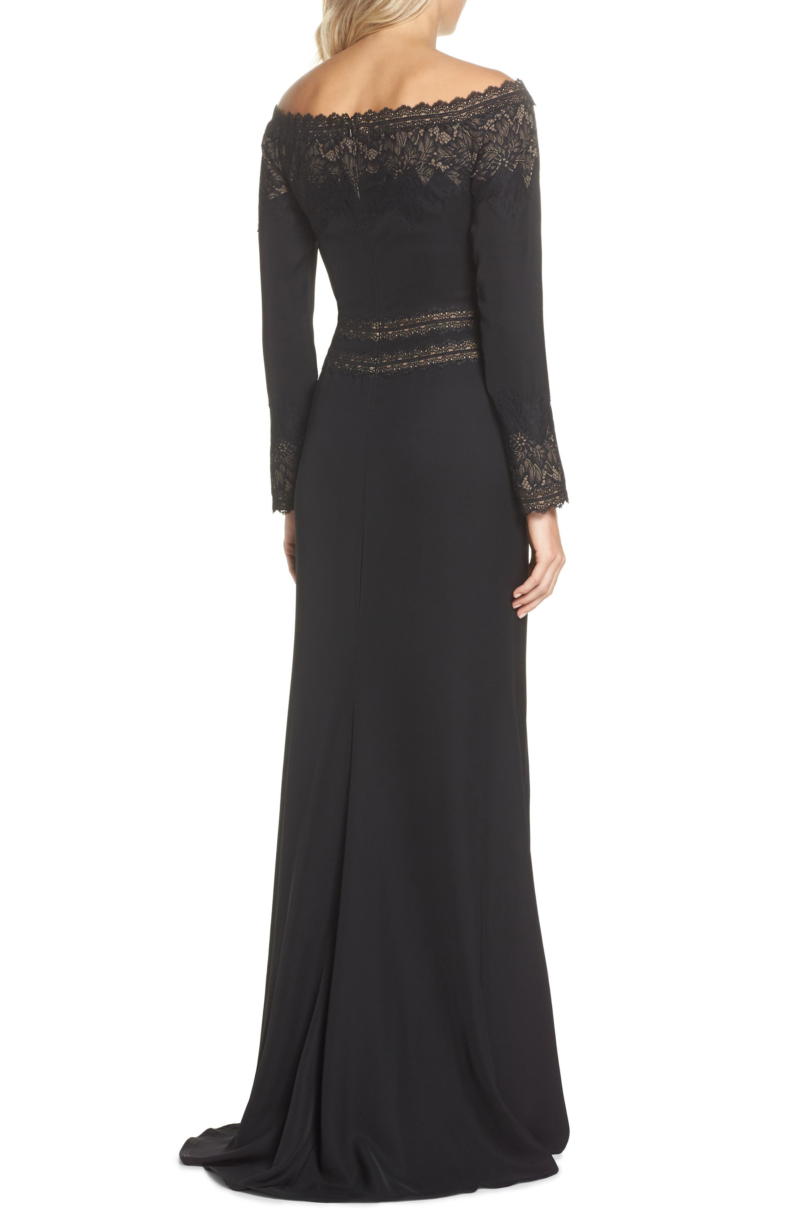 Lace & Crepe Gown,                             Alternate thumbnail 2, color,                             BLACK