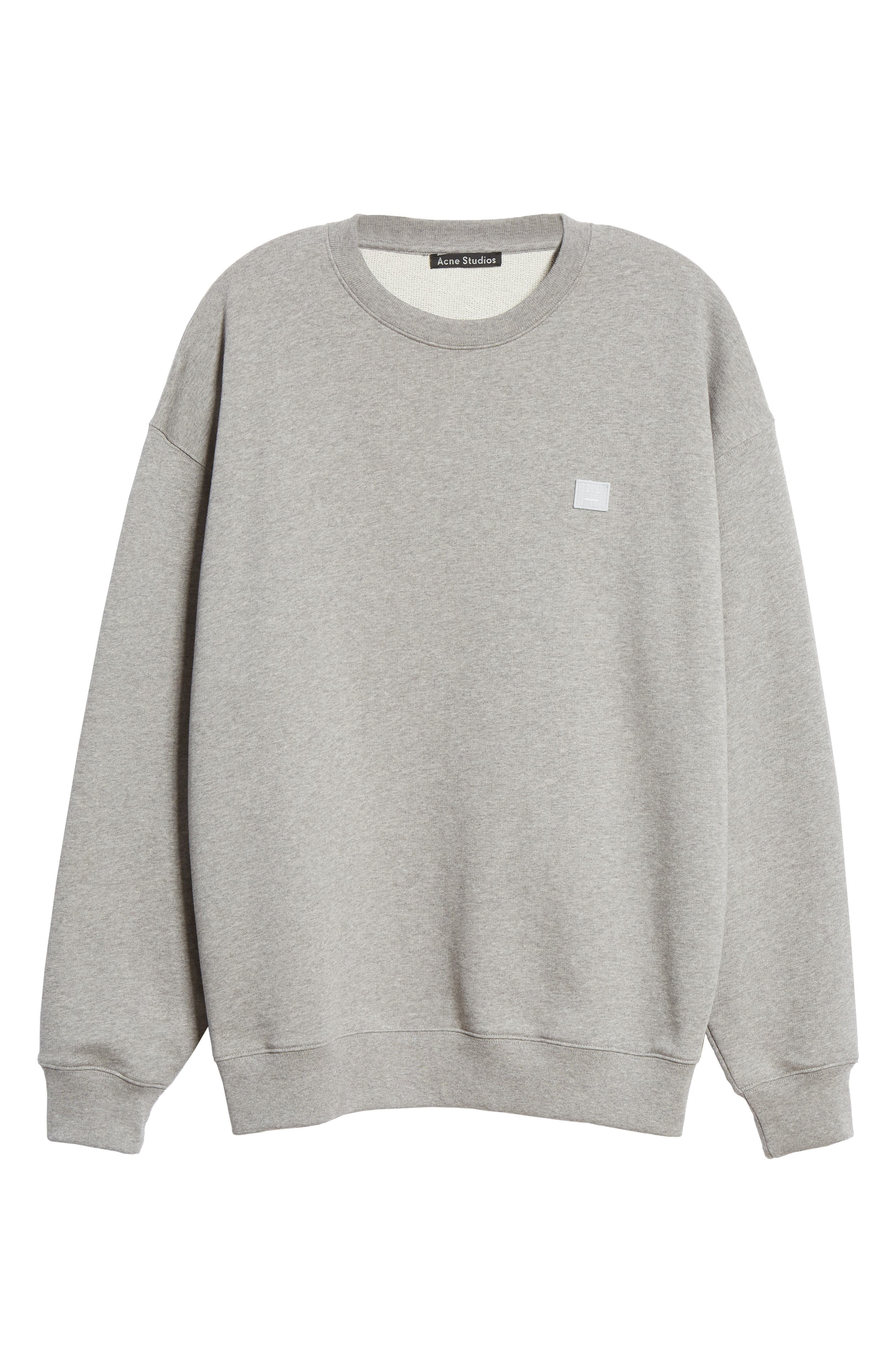 ACNE STUDIOS,                             Forba Face Sweatshirt,                             Alternate thumbnail 6, color,                             LIGHT GREY MELANGE
