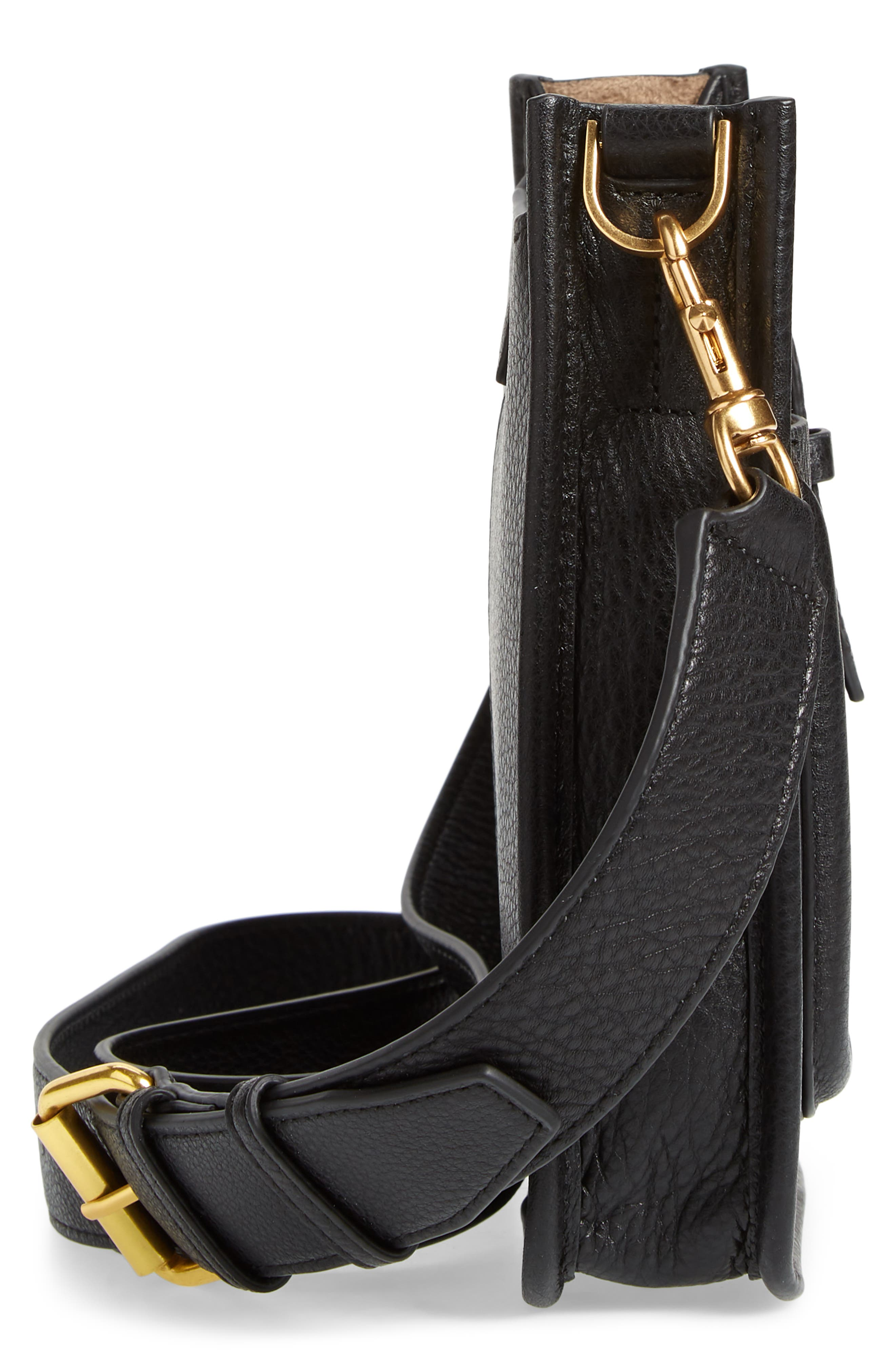 Mini Unlined Leather Feed Bag,                             Alternate thumbnail 5, color,                             010
