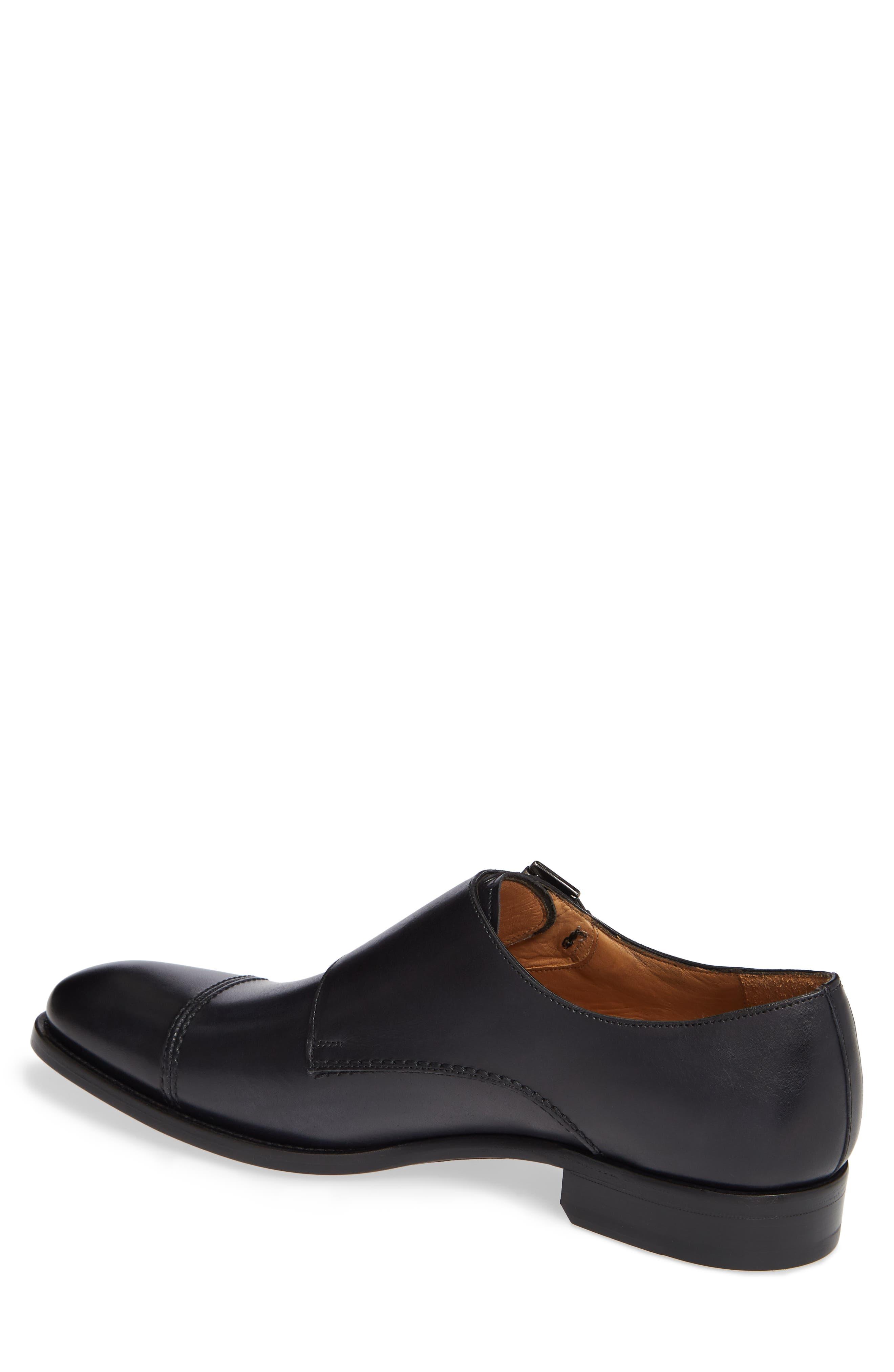 Acosta Double Strap Cap Toe Monk Shoe,                             Alternate thumbnail 2, color,                             BLACK LEATHER