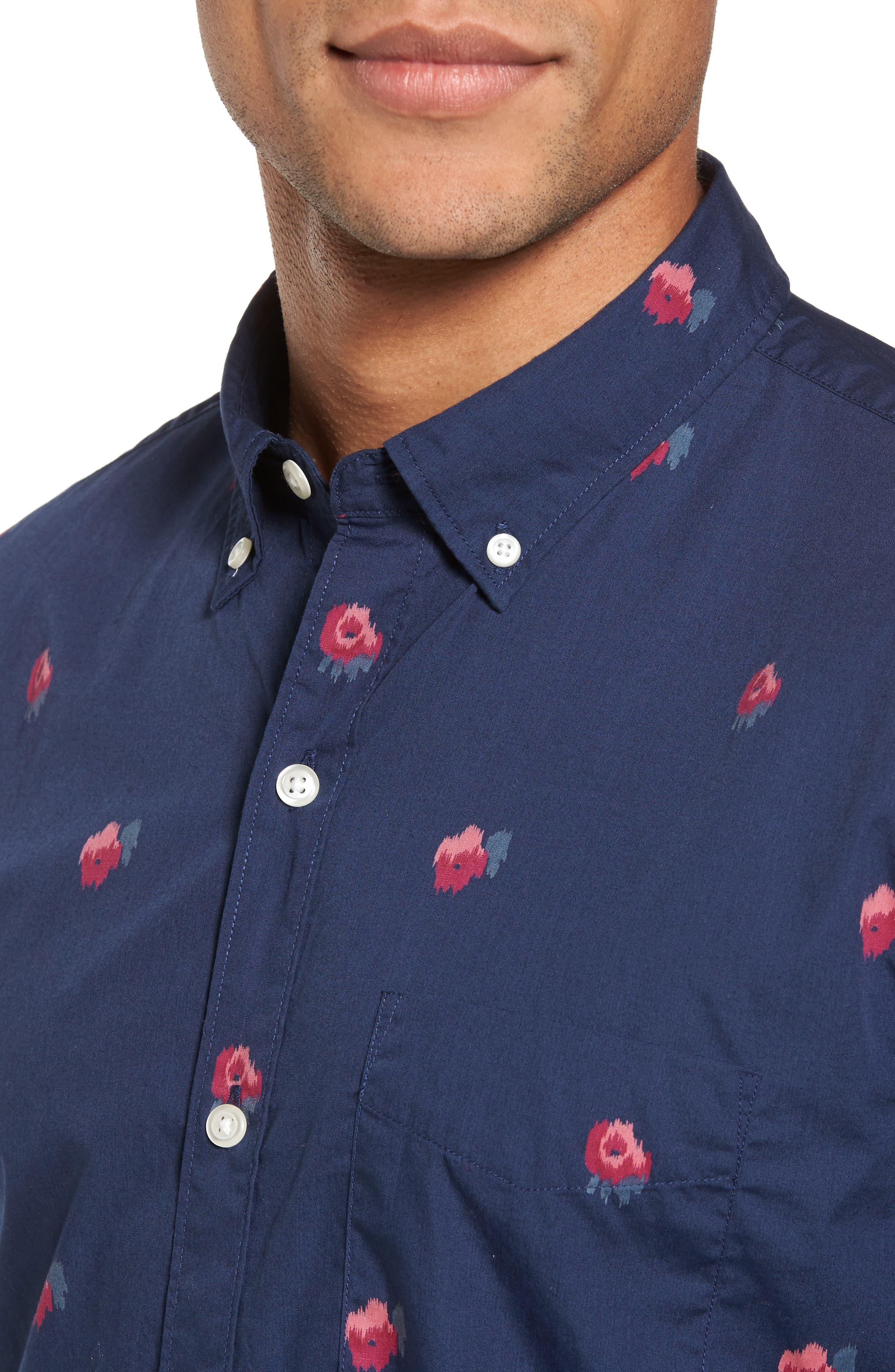 Slim Fit Washed Rose Print Sport Shirt,                             Alternate thumbnail 4, color,                             400