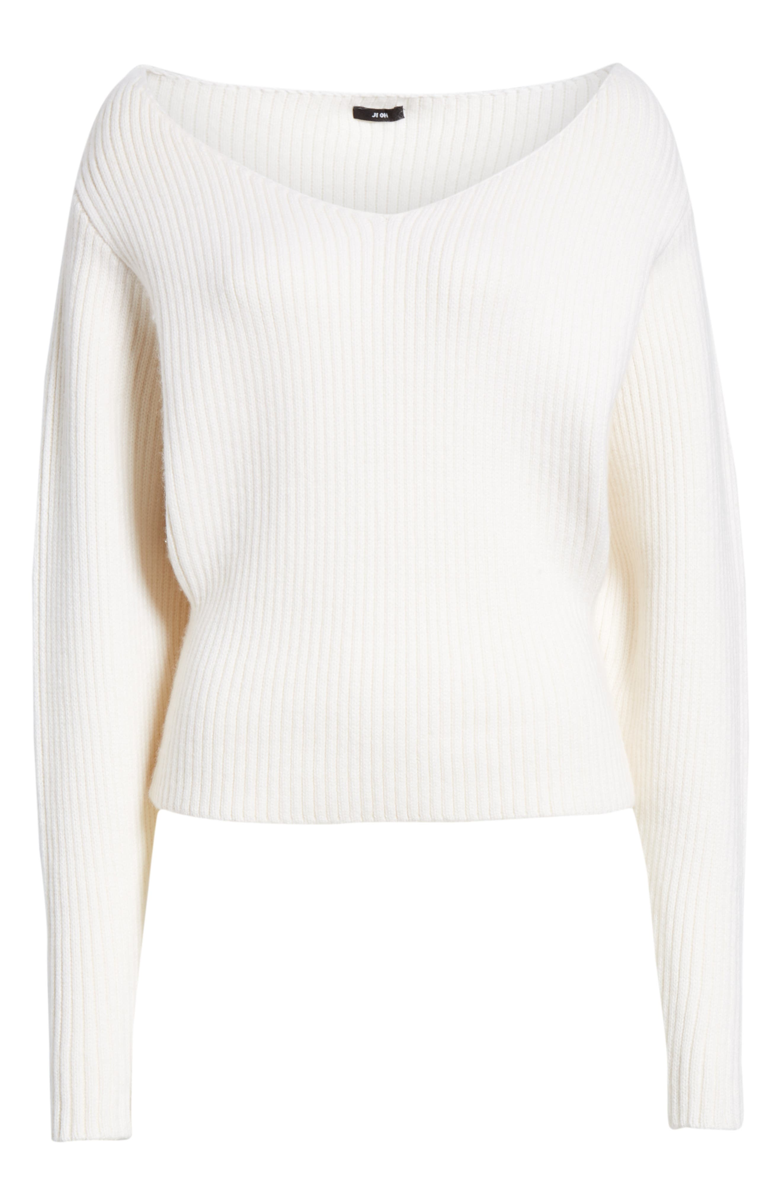 Off the Shoulder Wool & Cashmere Sweater,                             Alternate thumbnail 6, color,                             CREAM