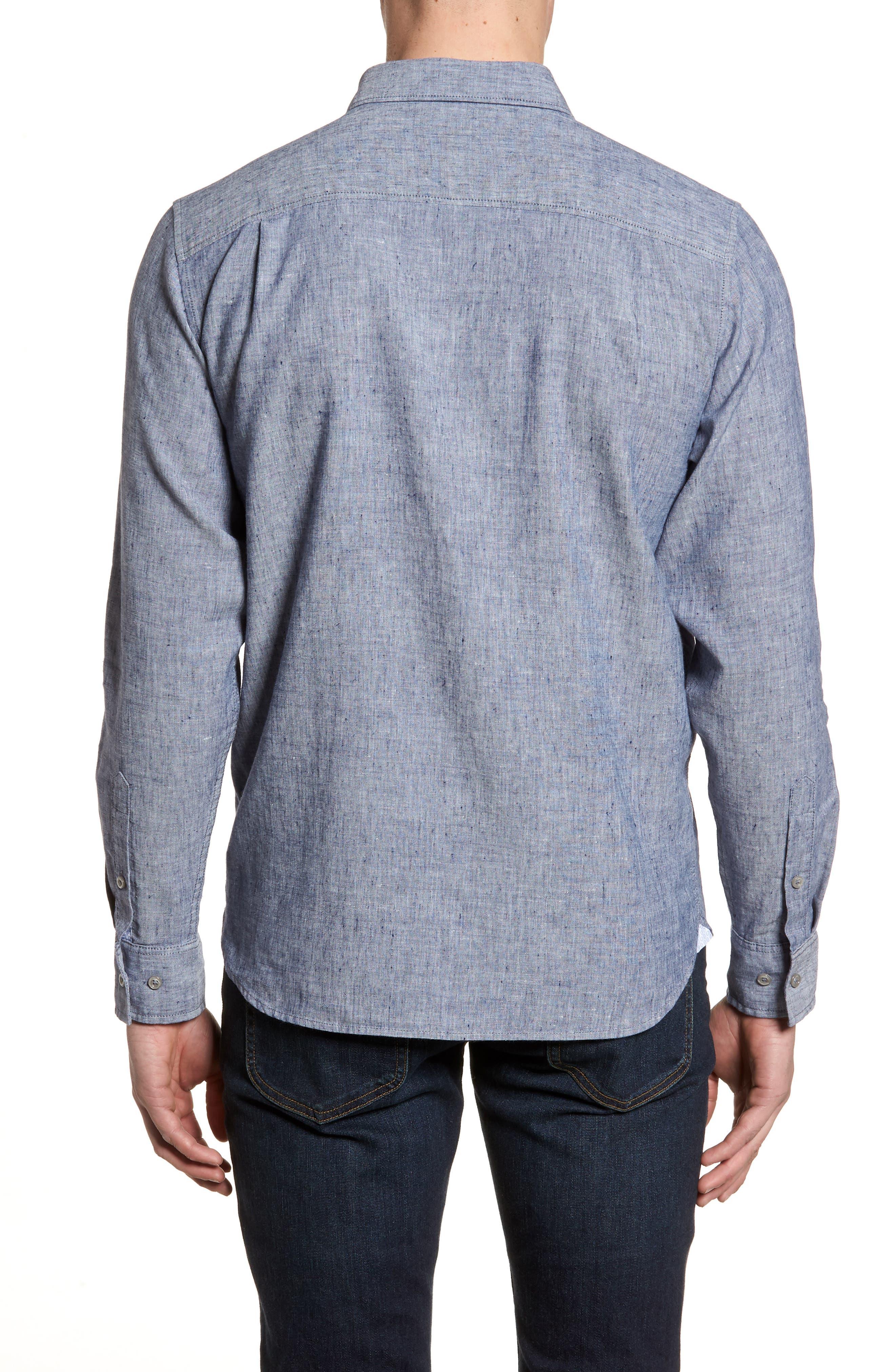 Lanai Tides Linen Blend Sport Shirt,                             Alternate thumbnail 4, color,