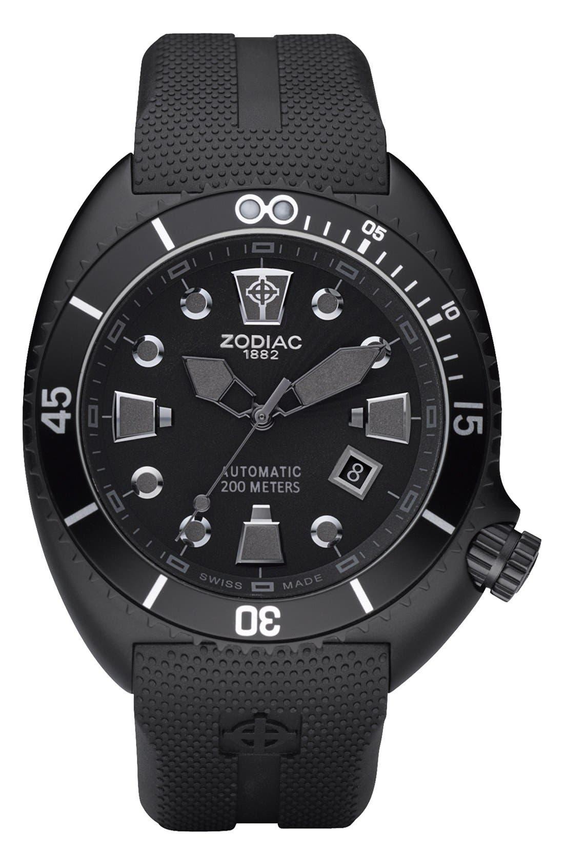 ZODIAC,                             'Oceanaire' Automatic Rubber Strap Watch, 45mm,                             Alternate thumbnail 3, color,                             001
