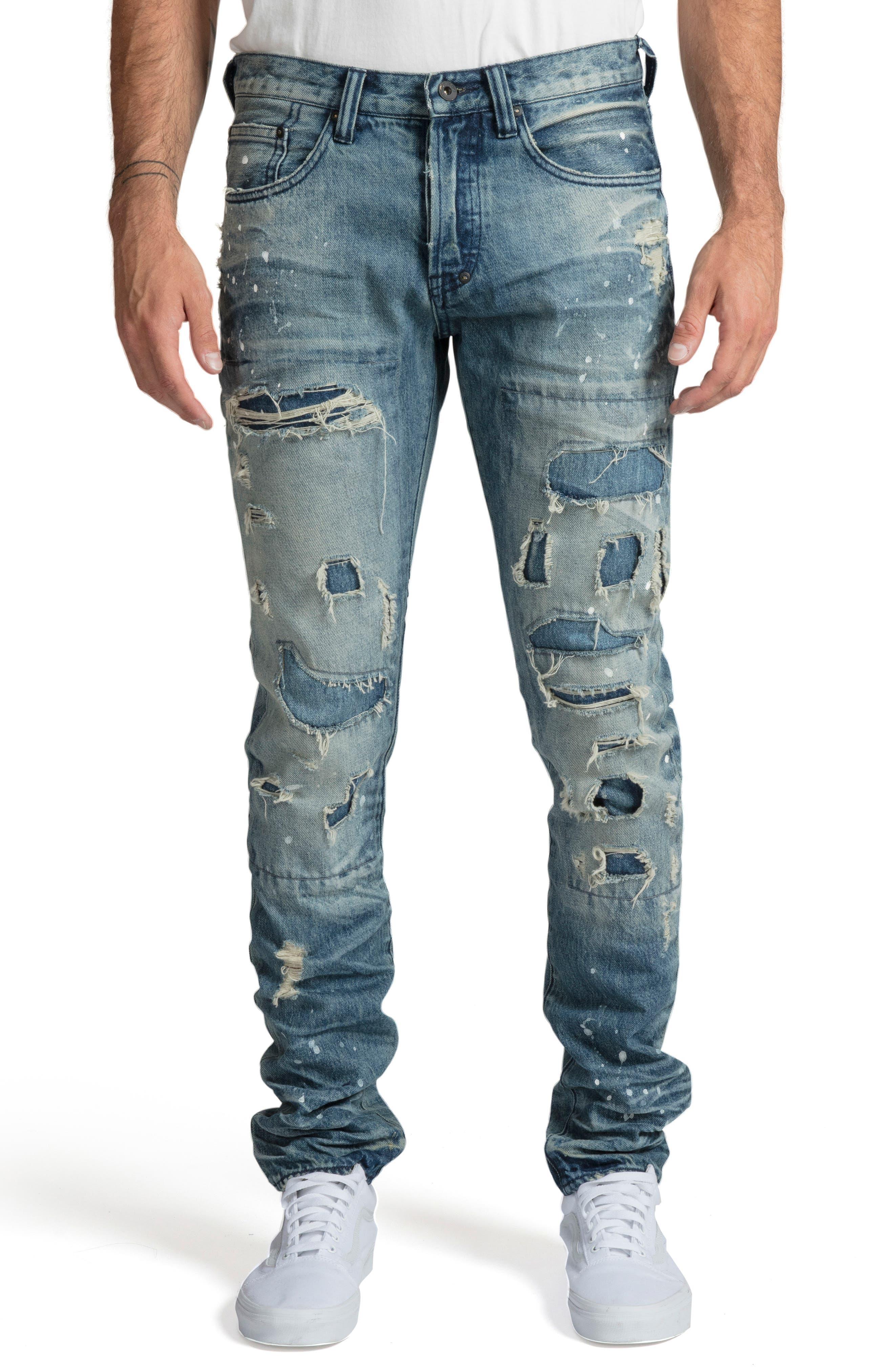 PRPS Men'S Le Sabre Fit Destroyed Jeans in Frost