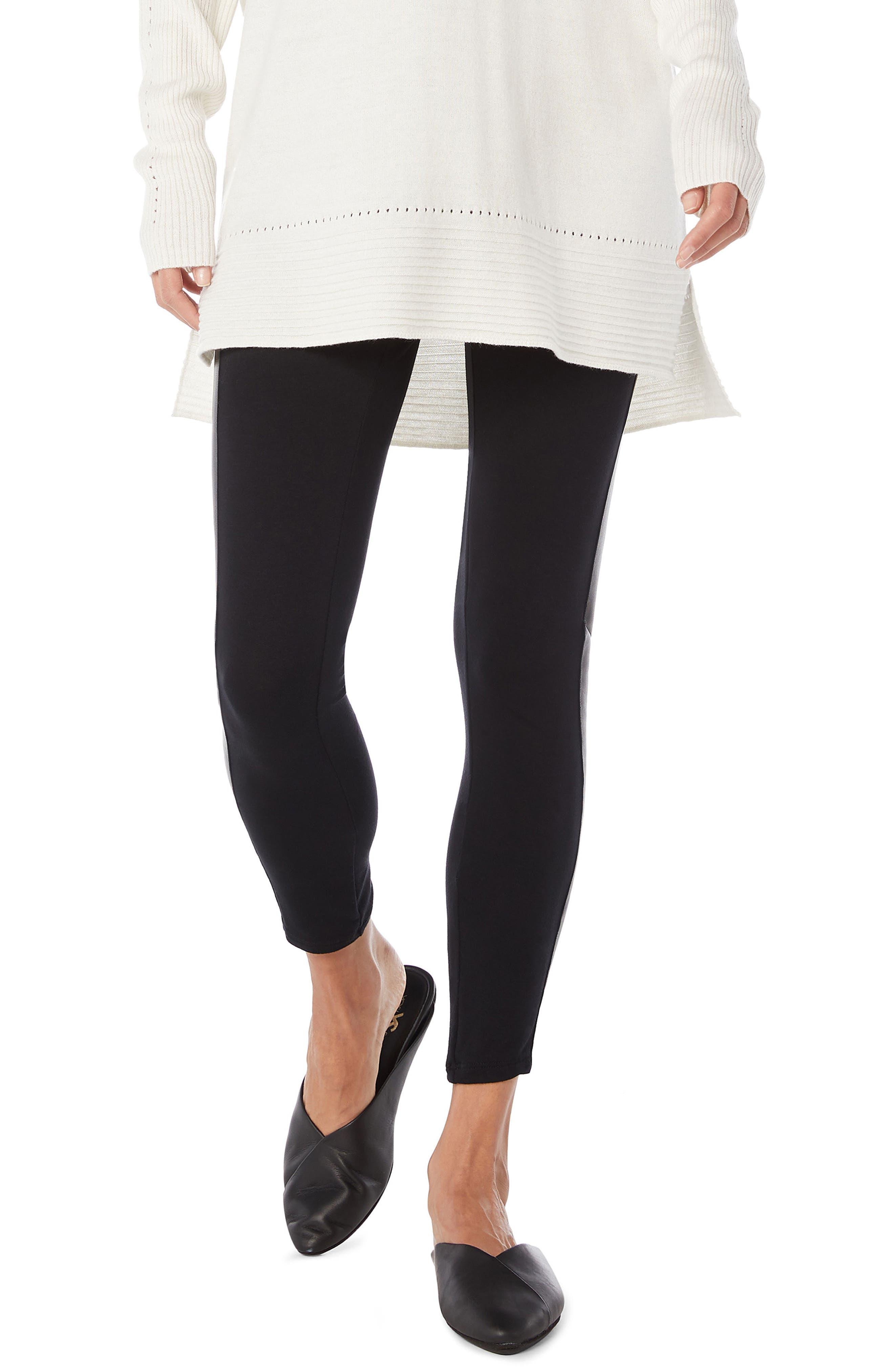 MICHAEL STARS Tuxedo Stripe Leggings, Main, color, BLACK/ BLACK