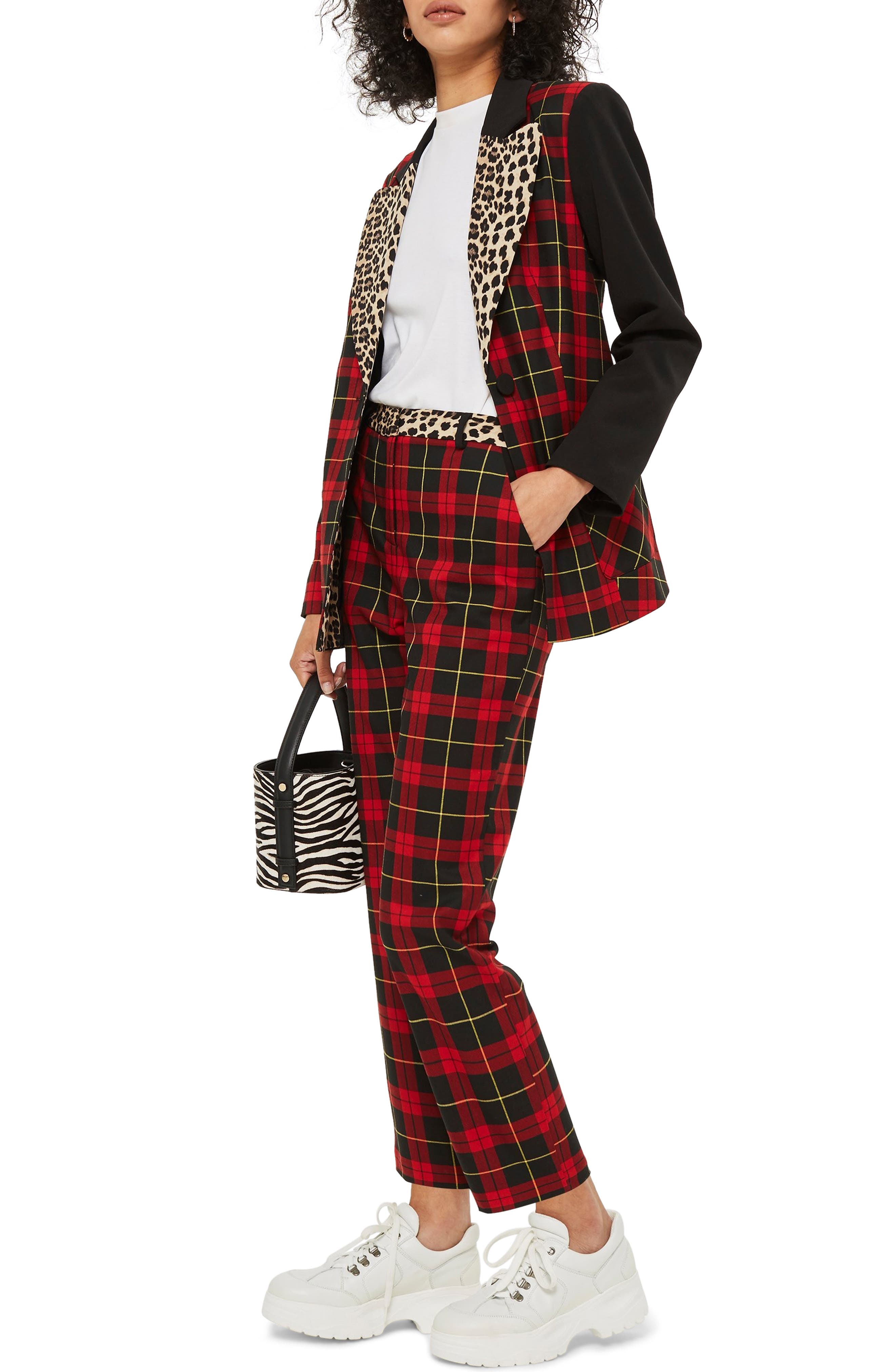 Leopard Trim Tartan Trousers,                             Alternate thumbnail 3, color,                             600