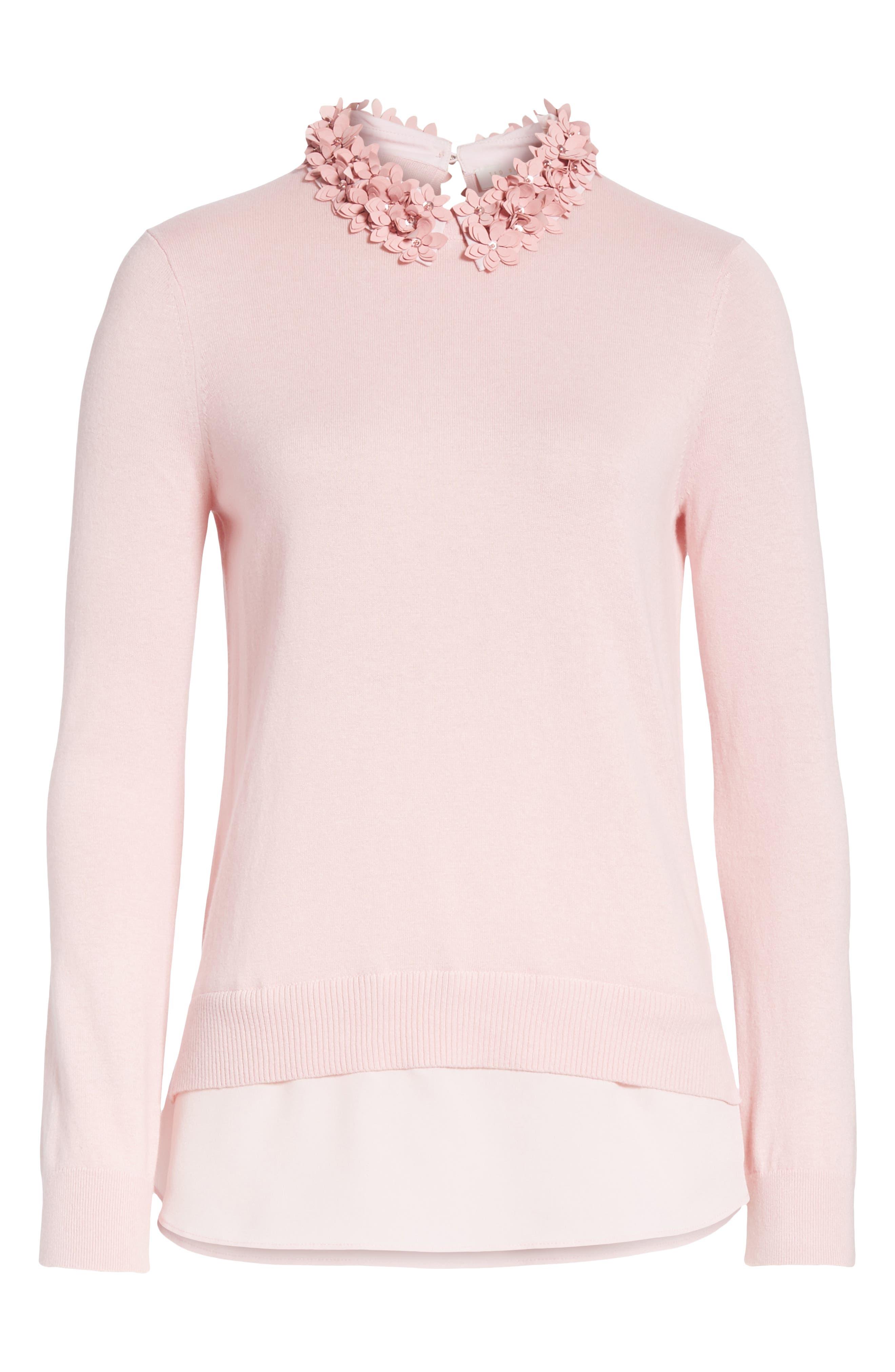 Nansea Floral Collar Tiered Hem Sweater,                             Alternate thumbnail 6, color,                             PINK