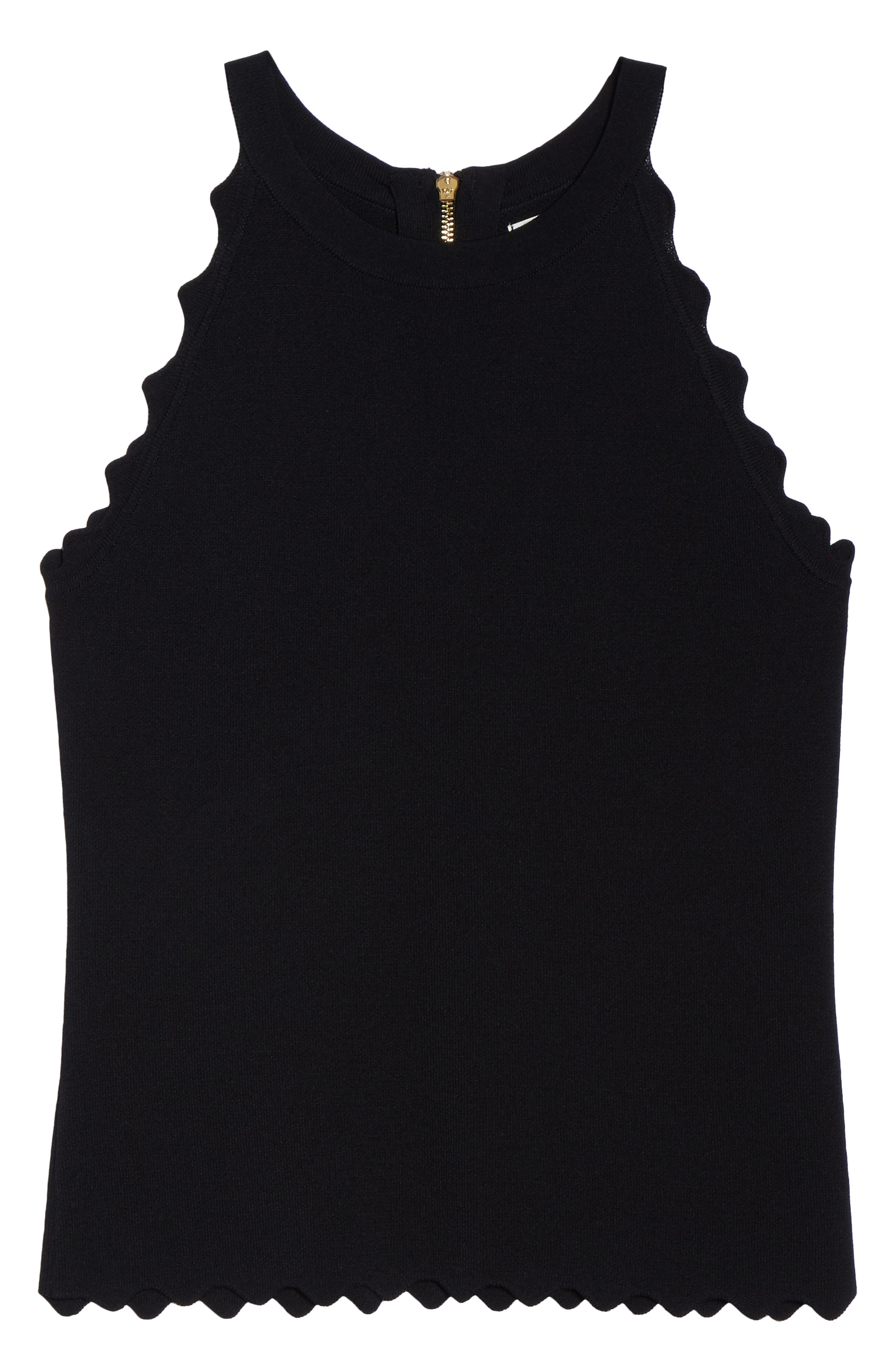 Scallop Knit Halter Top,                             Alternate thumbnail 6, color,                             BLACK