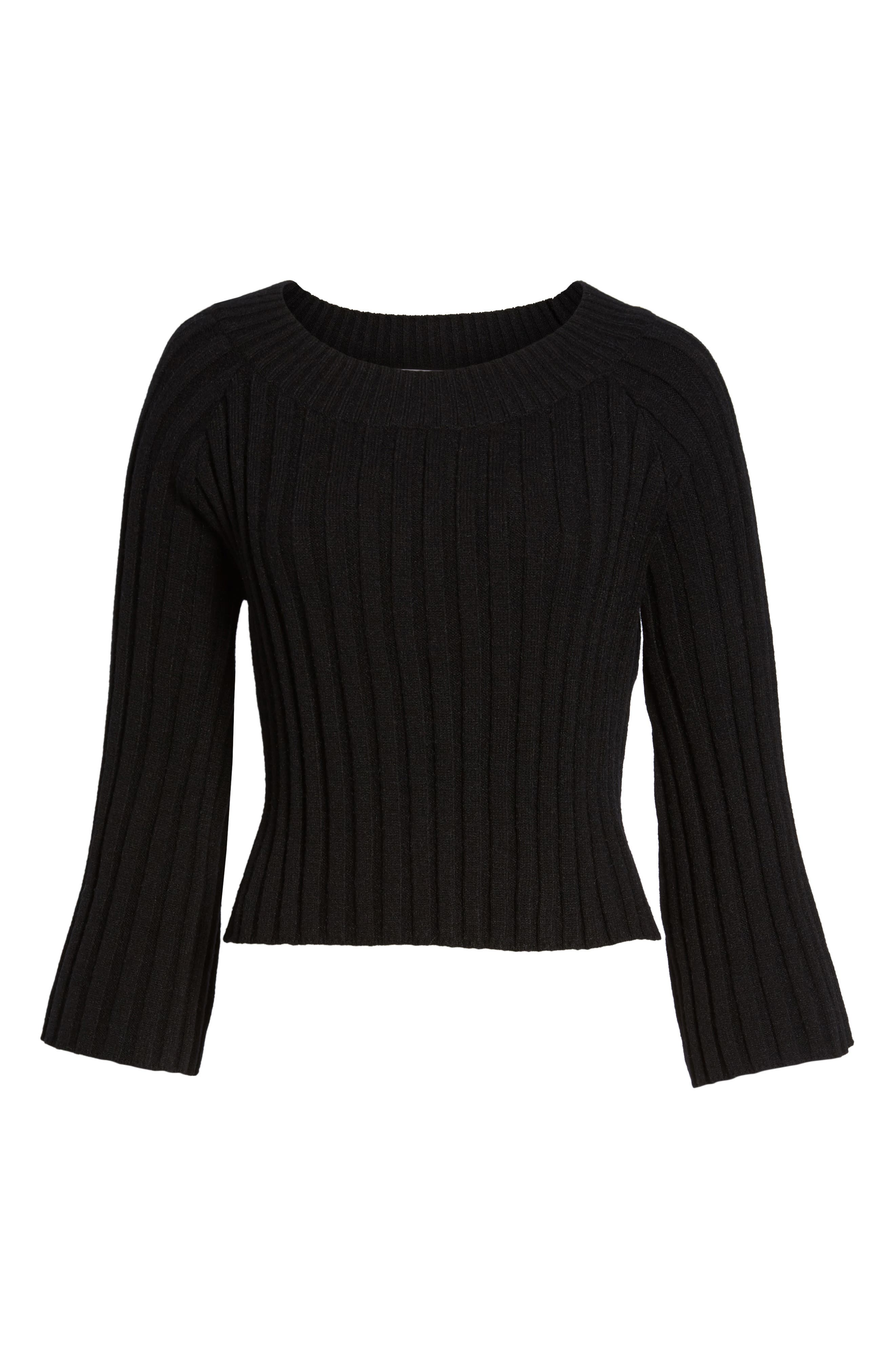 Crop Ribbed Sweater,                             Alternate thumbnail 6, color,                             001