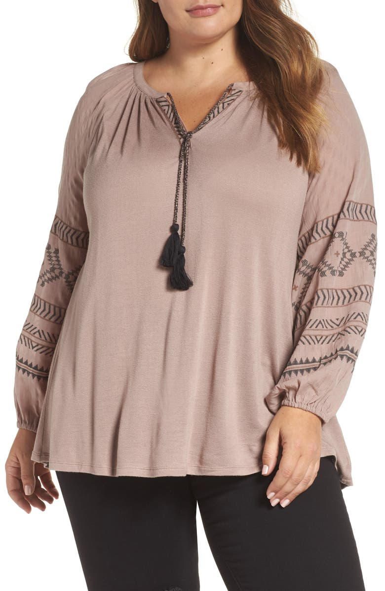 446f5a2129e Lucky Brand Embroidered Peasant Top (Plus Size)