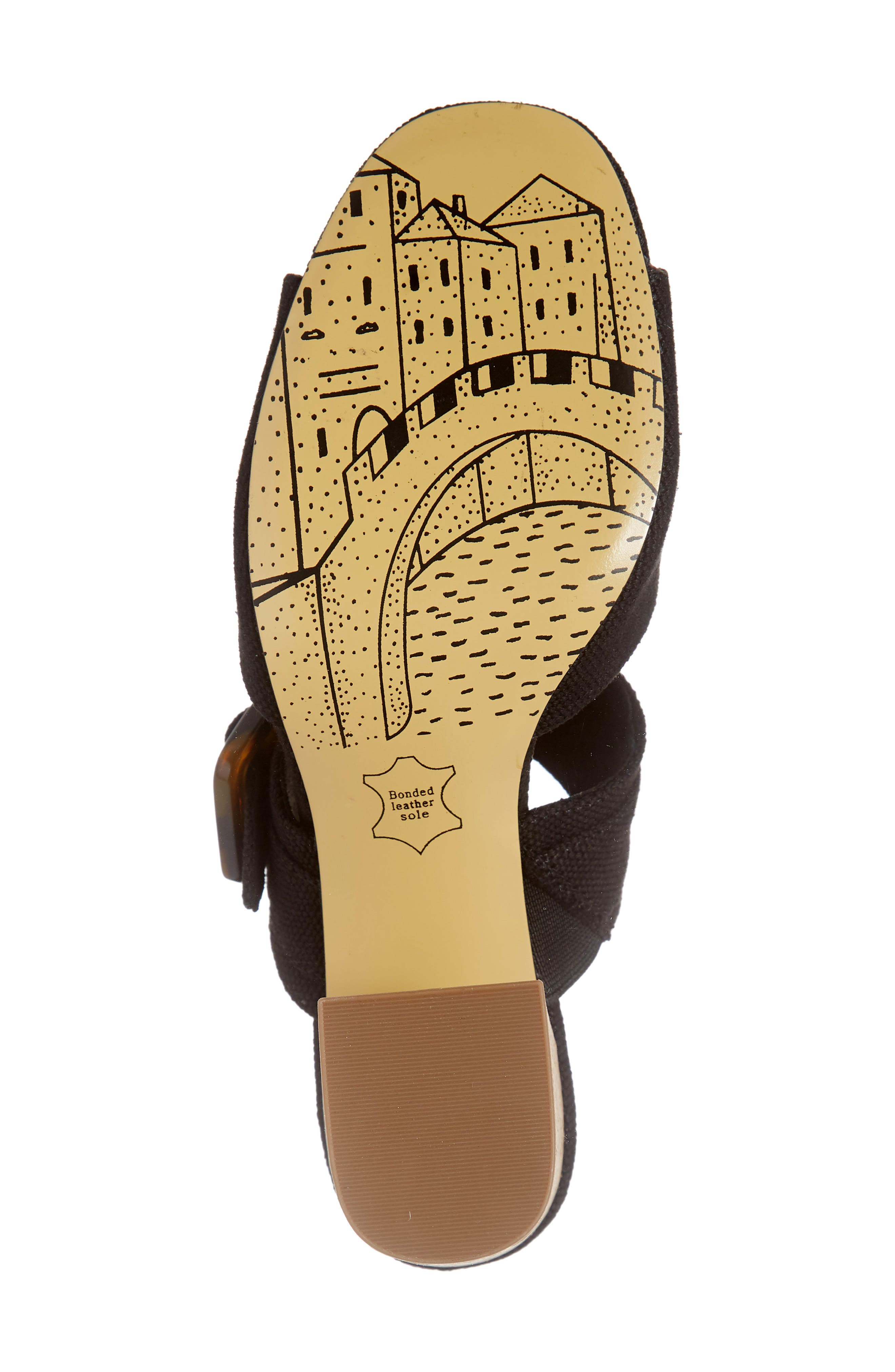 Tory II Buckle Slide Sandal,                             Alternate thumbnail 6, color,                             BLACK LINEN FABRIC