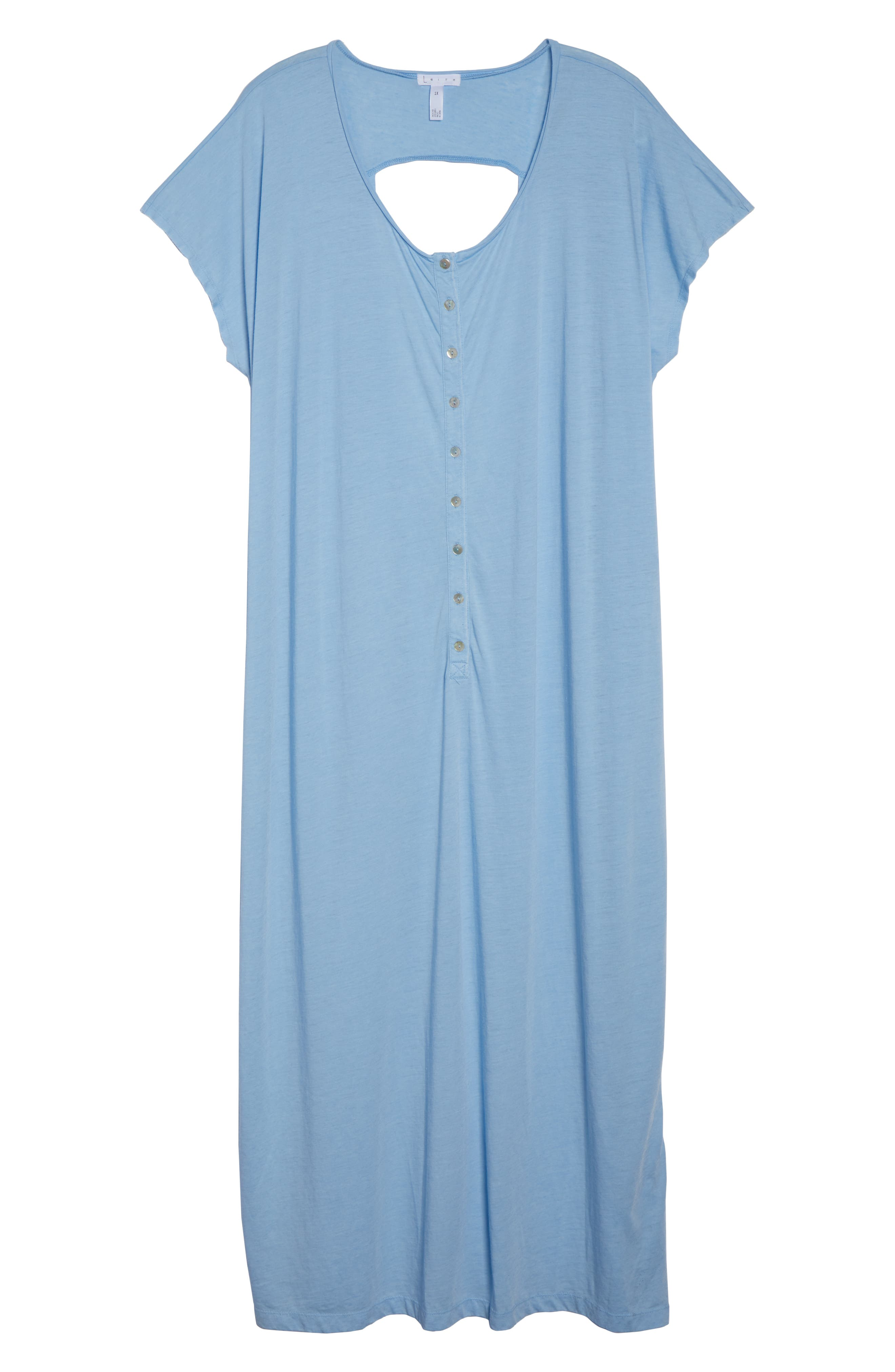 Henley Cover-Up Dress,                             Alternate thumbnail 6, color,                             BLUE BELL